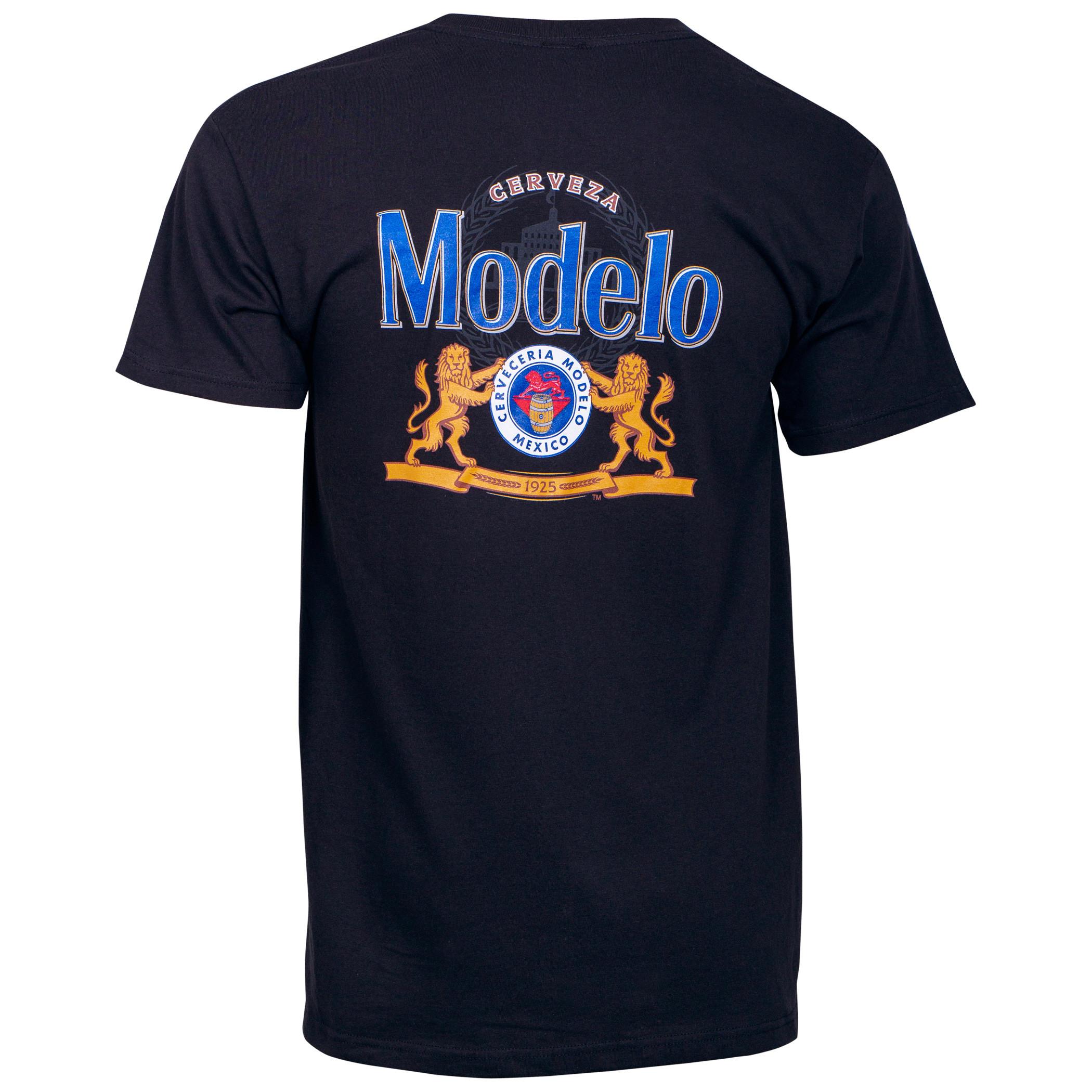 Modelo Cerveza Front and Back Print Pocket T-Shirt