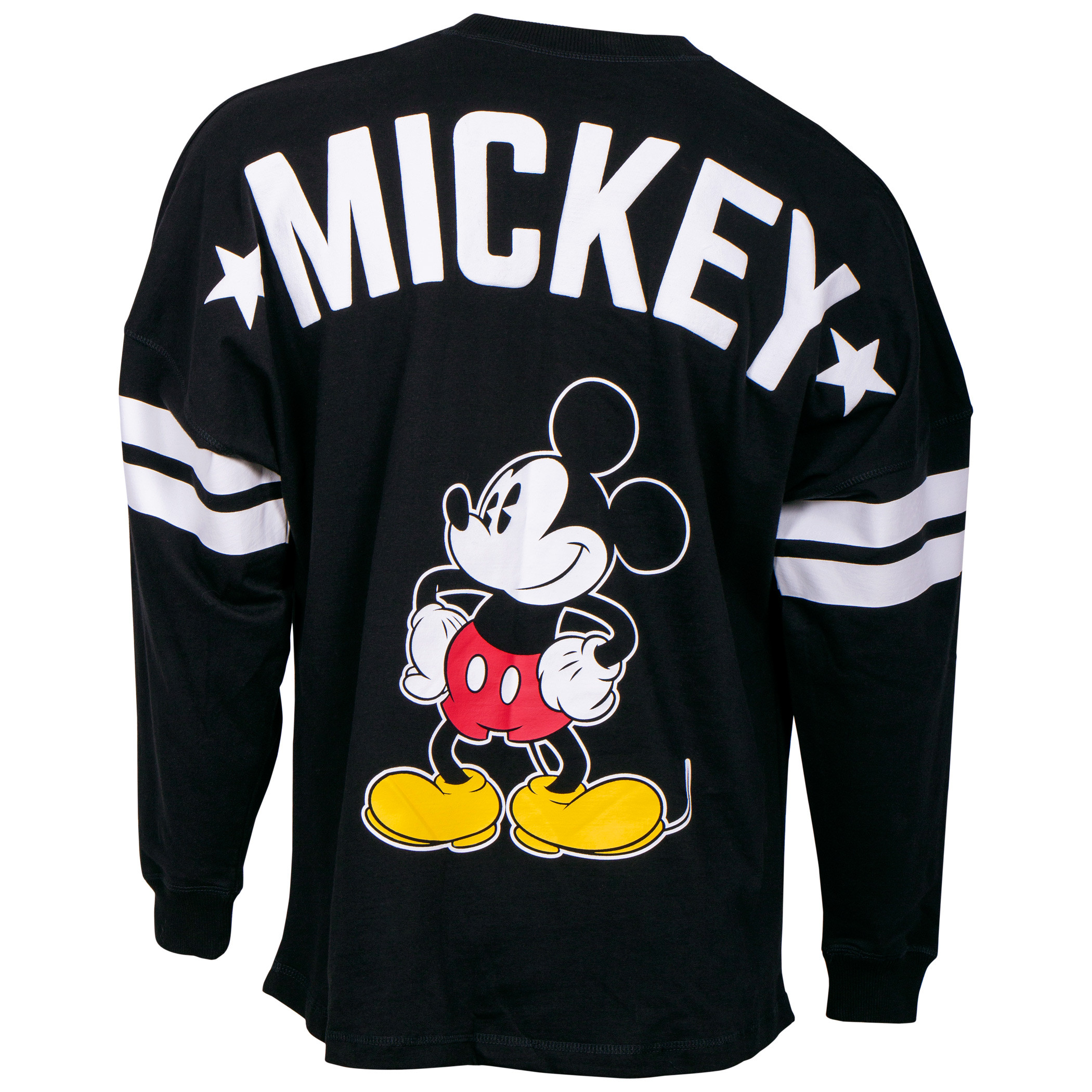 Disney Mickey Mouse Striped Sleeve Black Long Sleeve Shirt