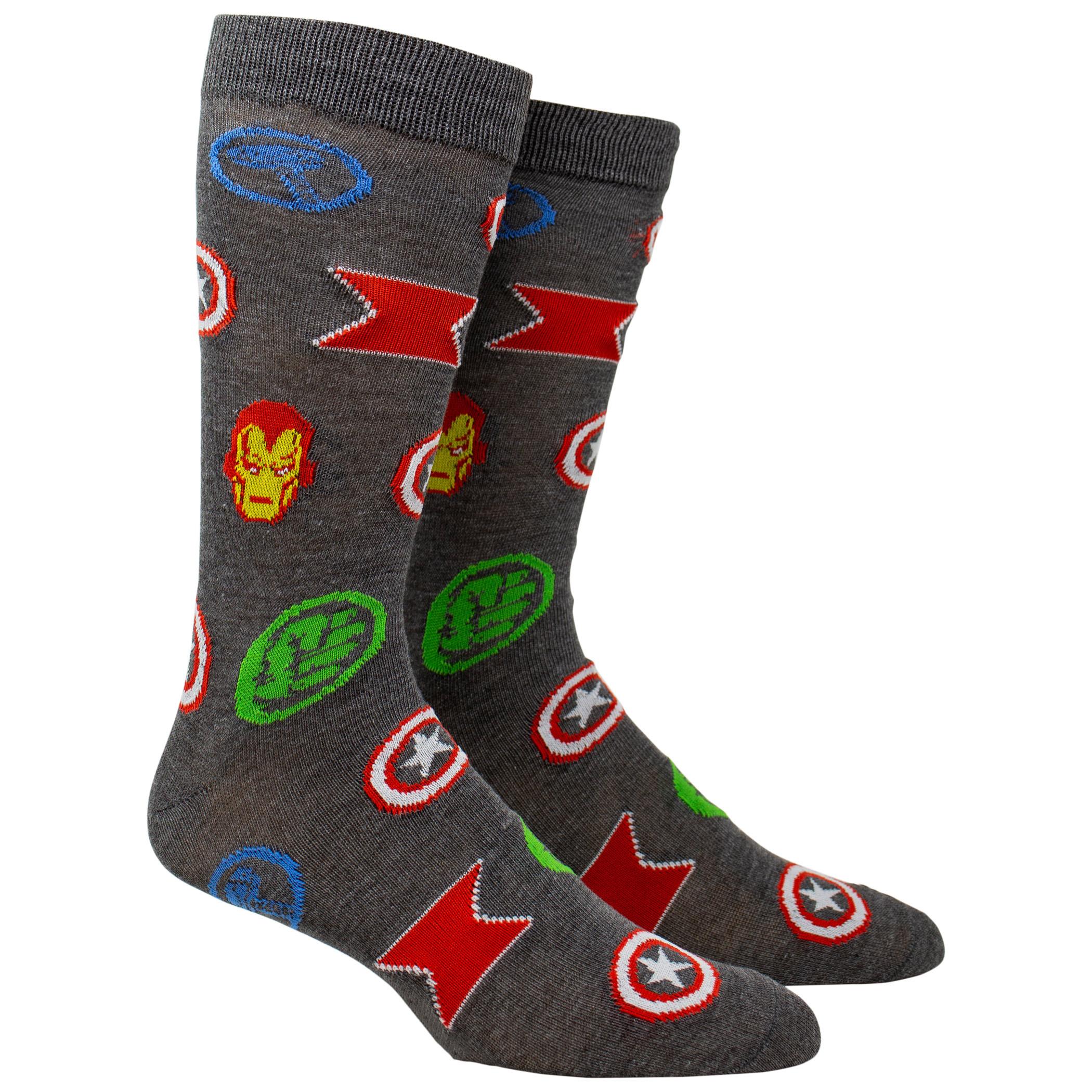 Iron Man and Avengers Hero Symbols 2-Pair Pack Casual Crew Socks