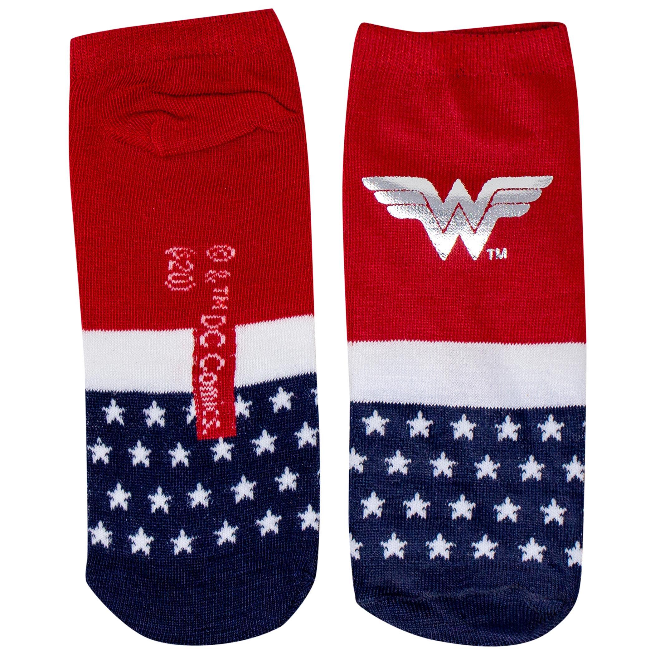 Wonder Woman Symbol with Silver Foil Women's Shorty Sock