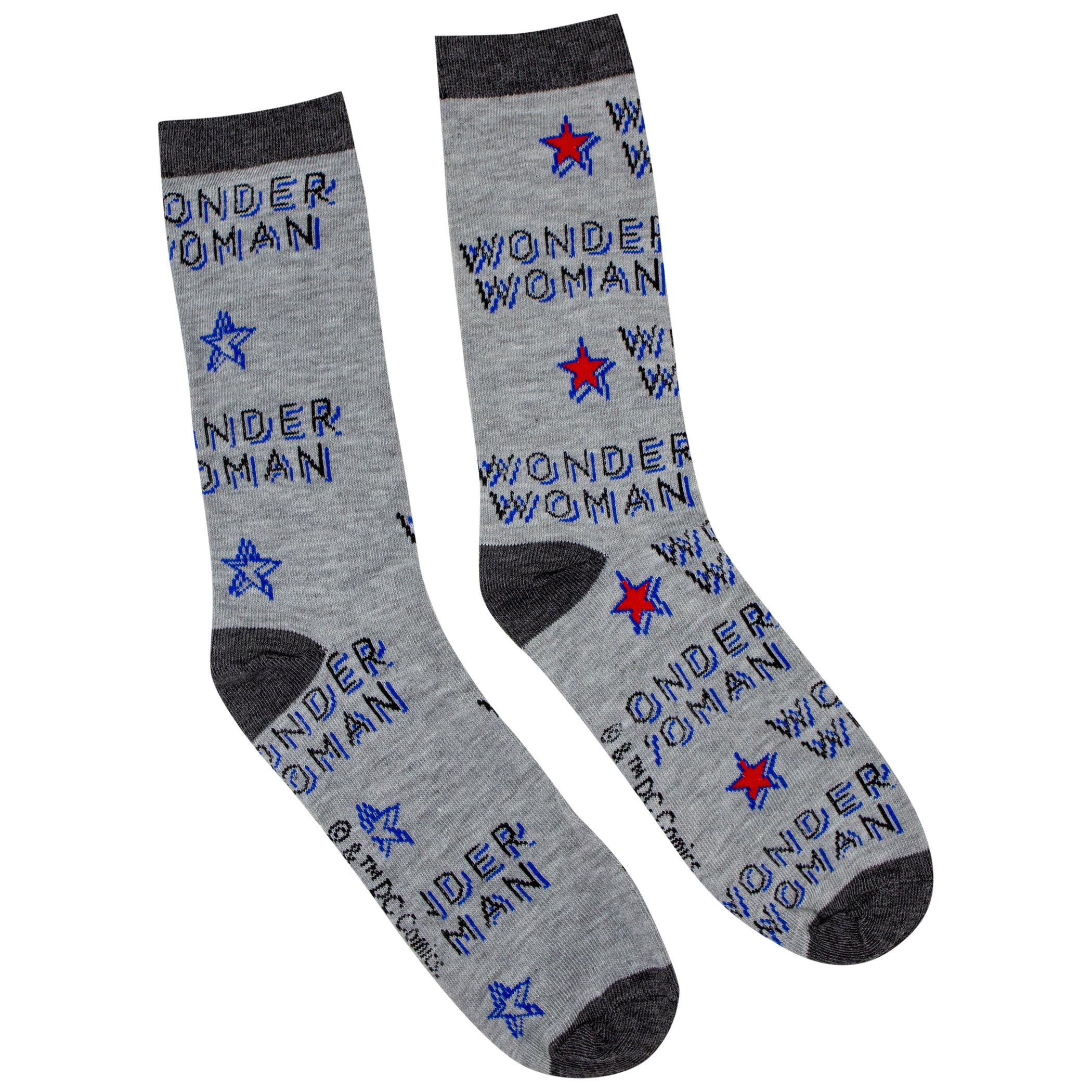 Wonder Woman Stars and Stripes 2-Pack Casual Crew Socks