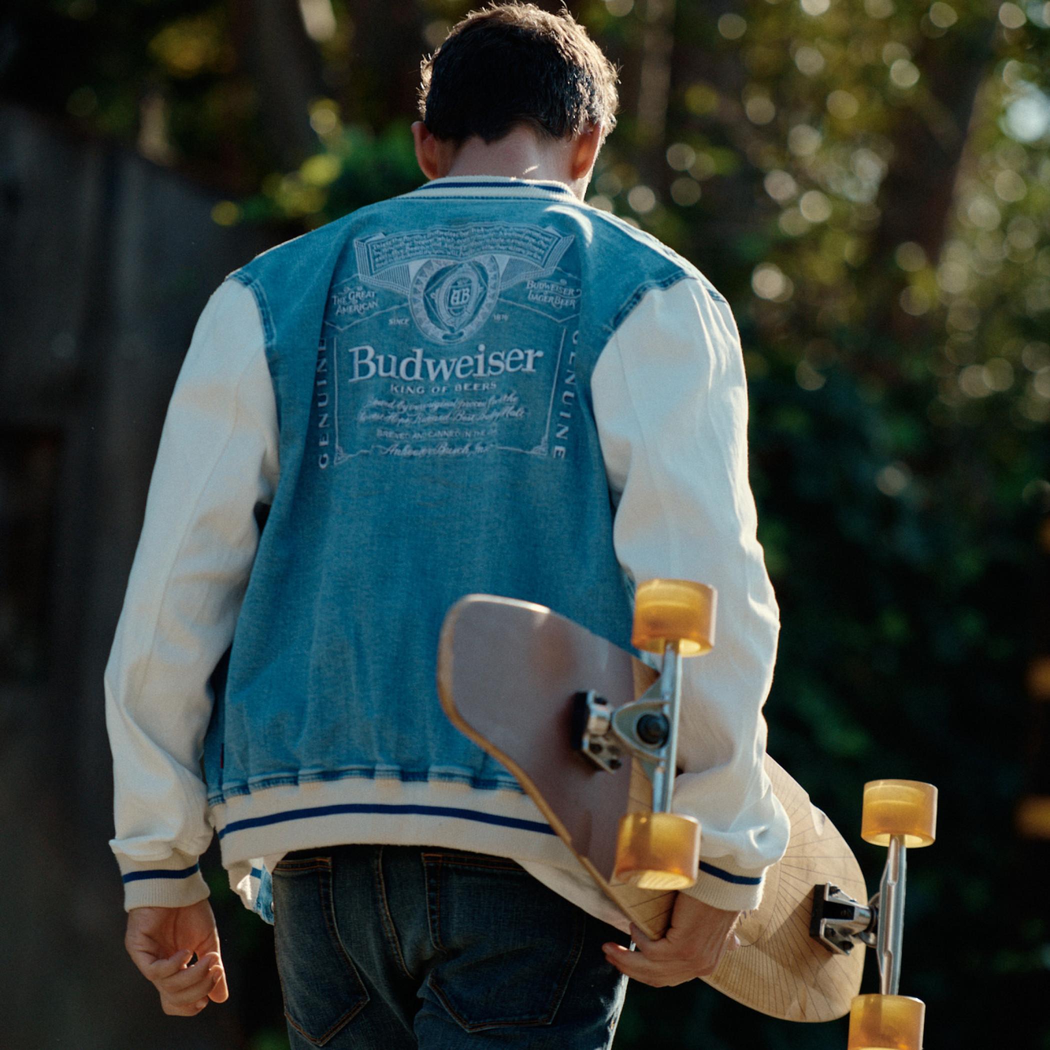 Budweiser Anheuser-Busch Varsity Trucker Jacket with Dalmatian Patch