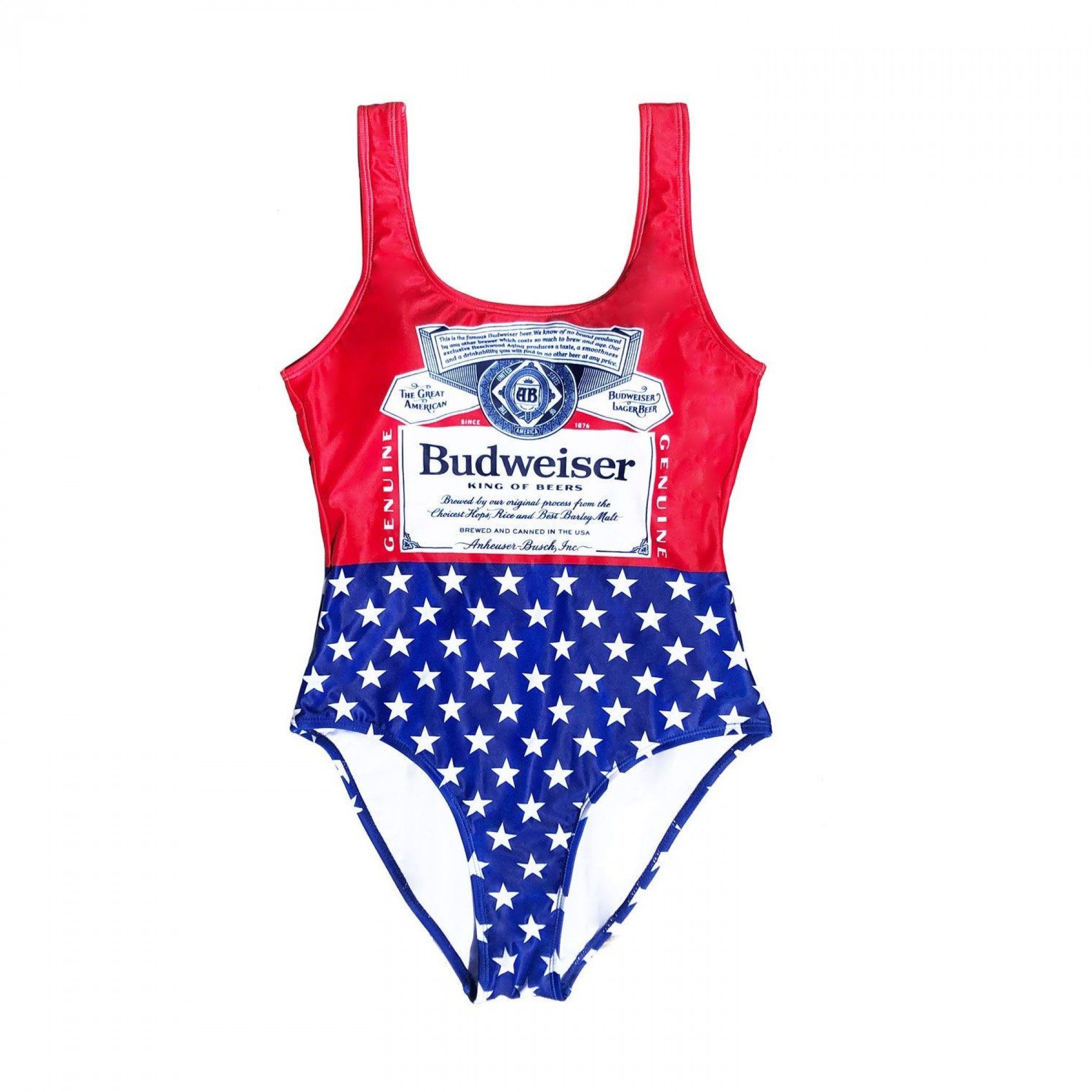 Budweiser Bottle Label and Stars Women's One-Piece Swimsuit