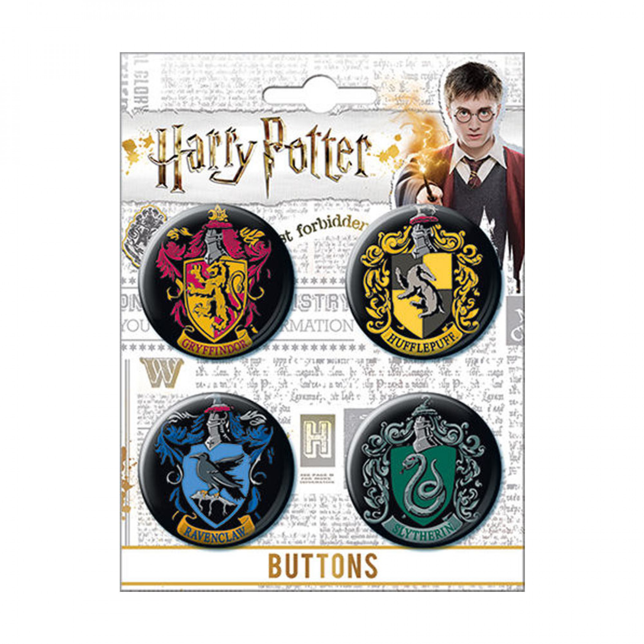Harry Potter Hogwarts Houses 4-Pack Button Set