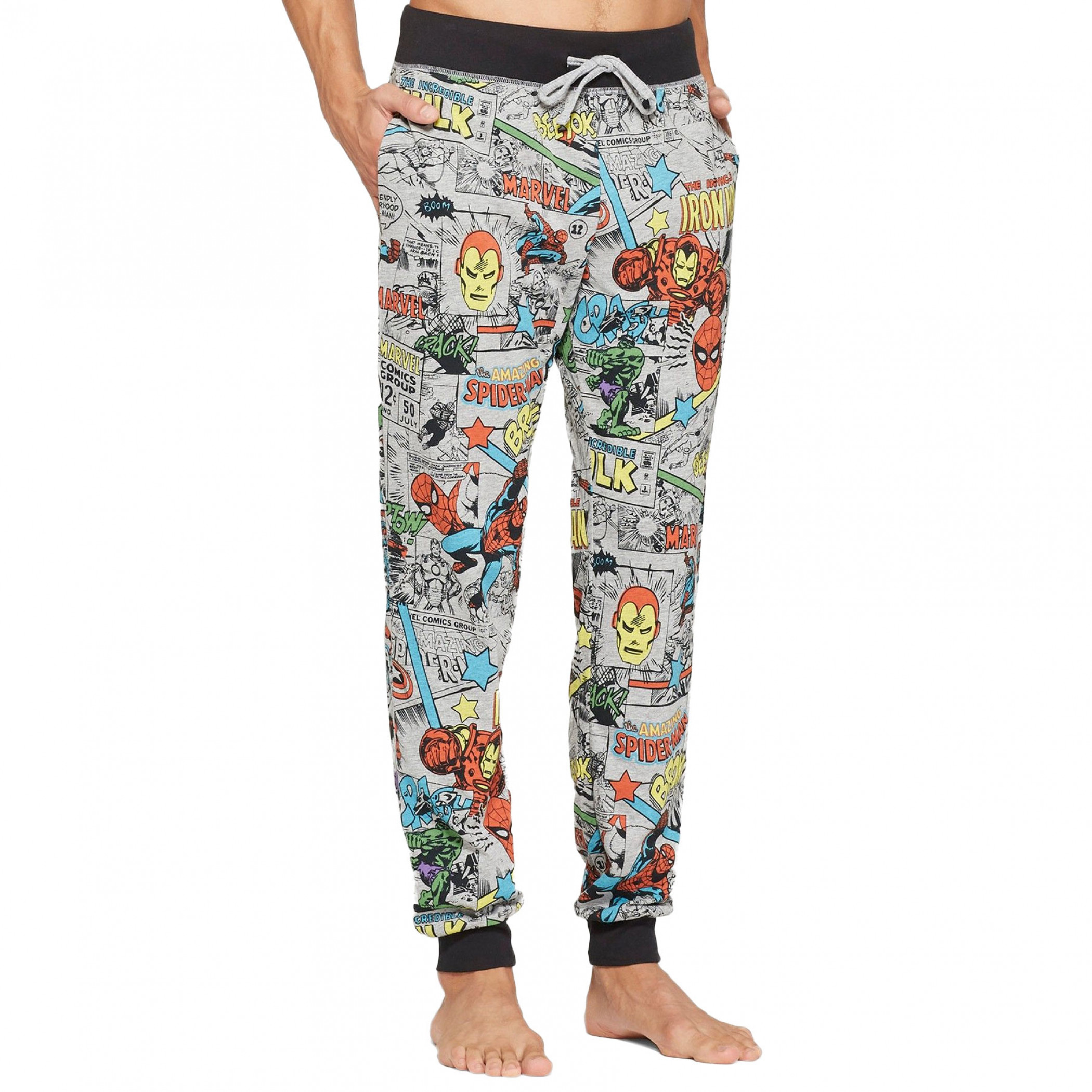 Avengers Classic Characters All Over Print Jogger Style Pants
