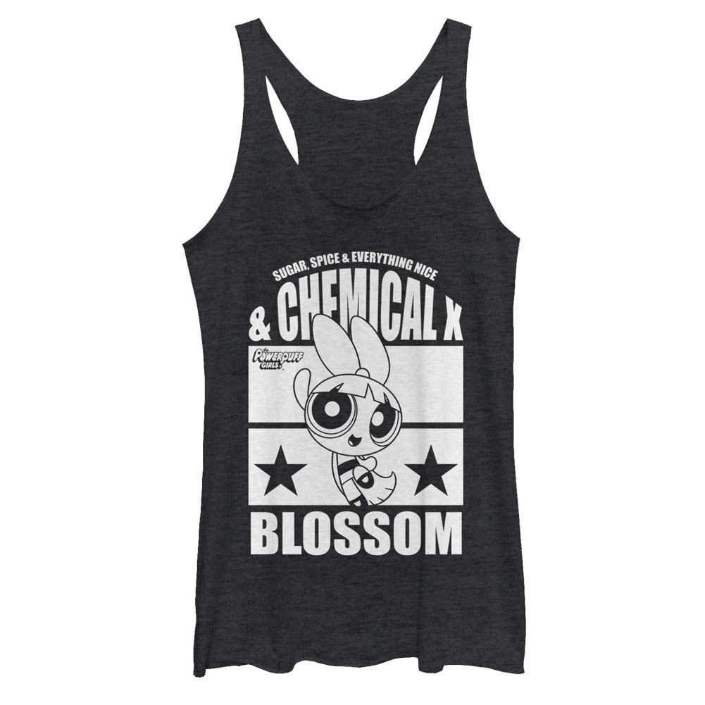 Power Puff Girls Chemical X Blossom Black Juniors Racerback Tank Top