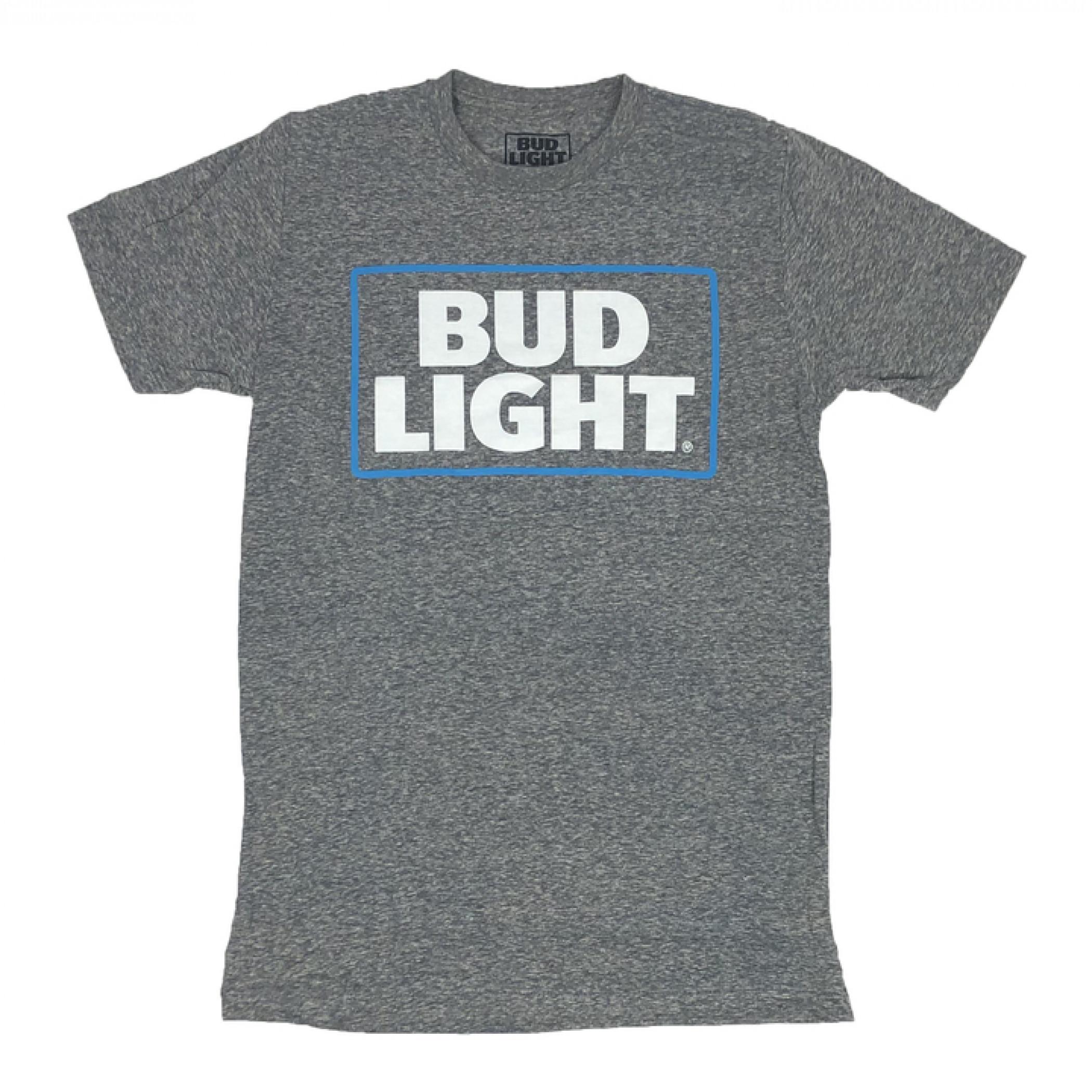 Bud Light Heather Grey Box Logo T-Shirt