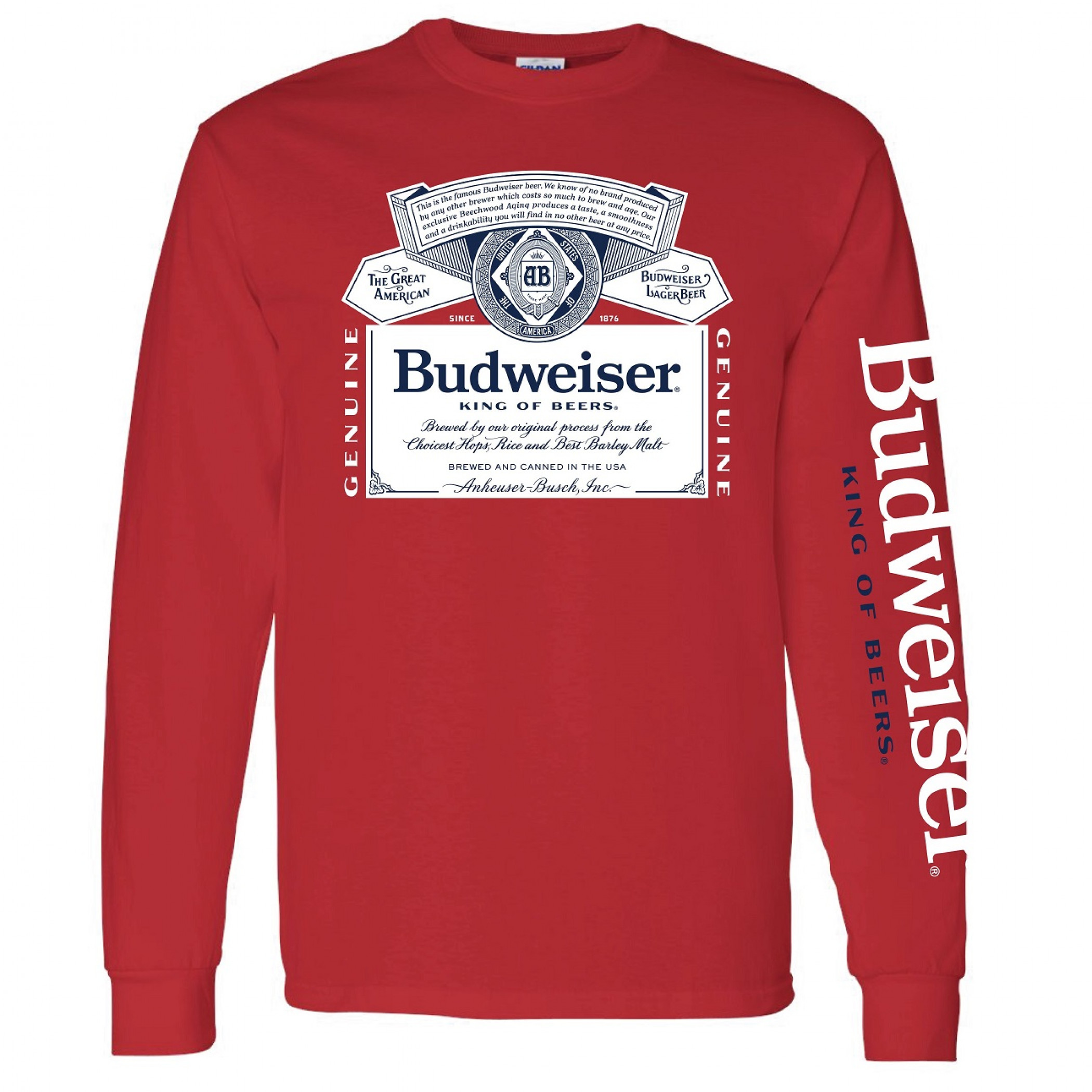 Budweiser Beer Sleeve Print Long Sleeve Shirt