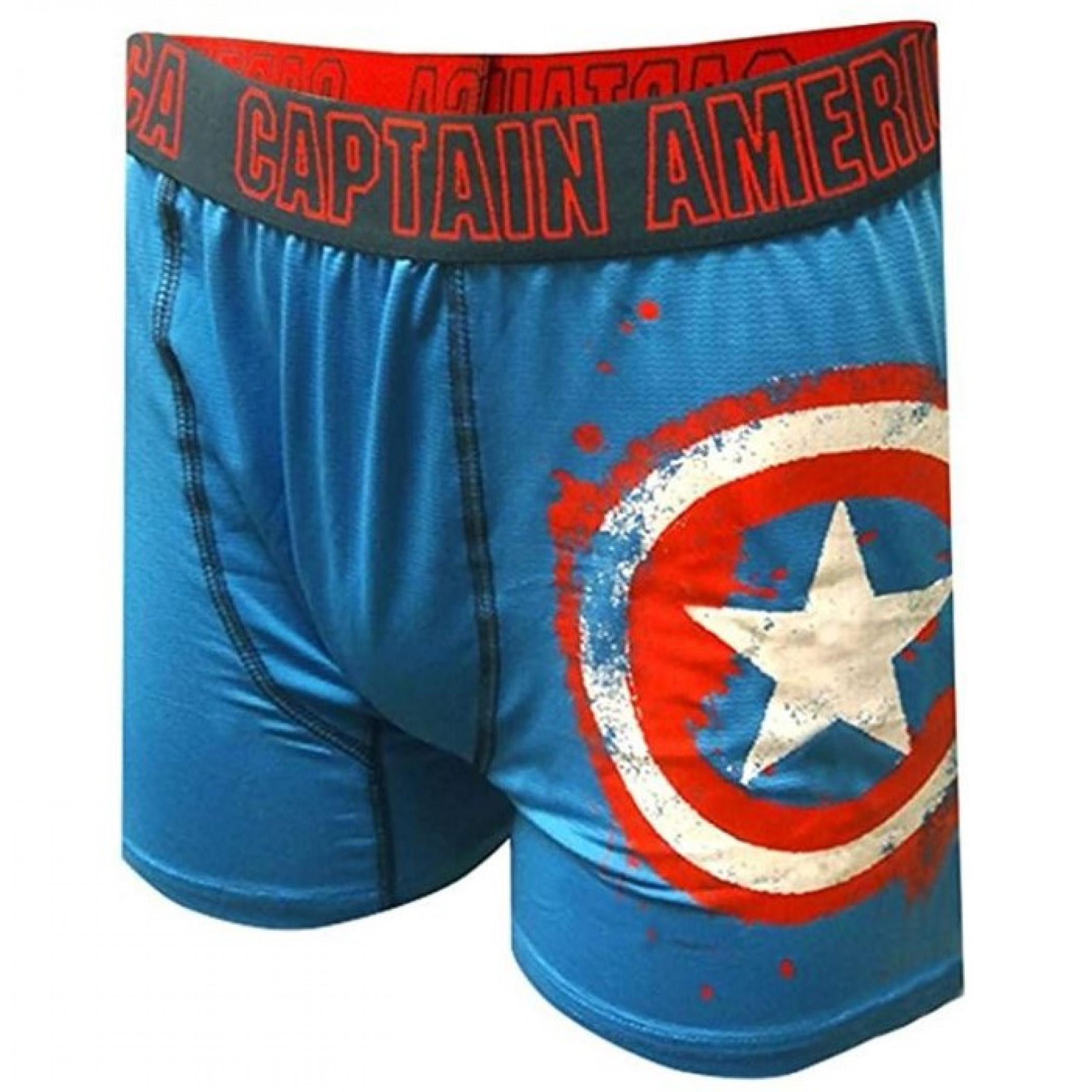 Captain America Distressed Shield Underwear Boxers Briefs