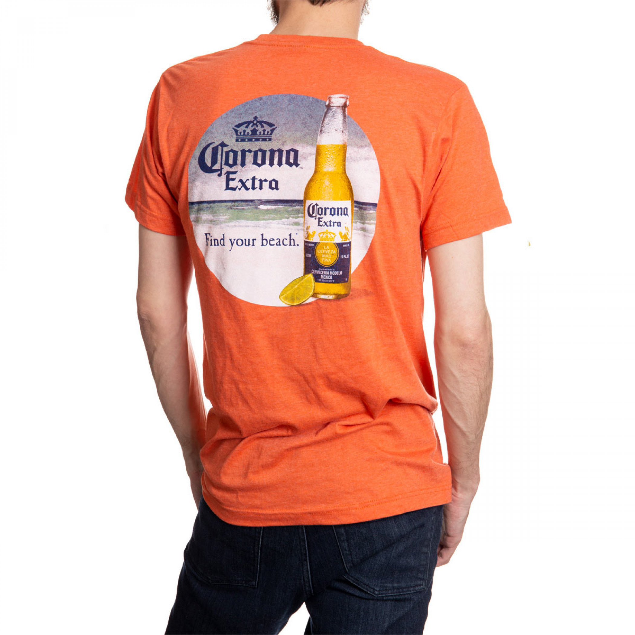 Corona Beach Scene Orange T-Shirt