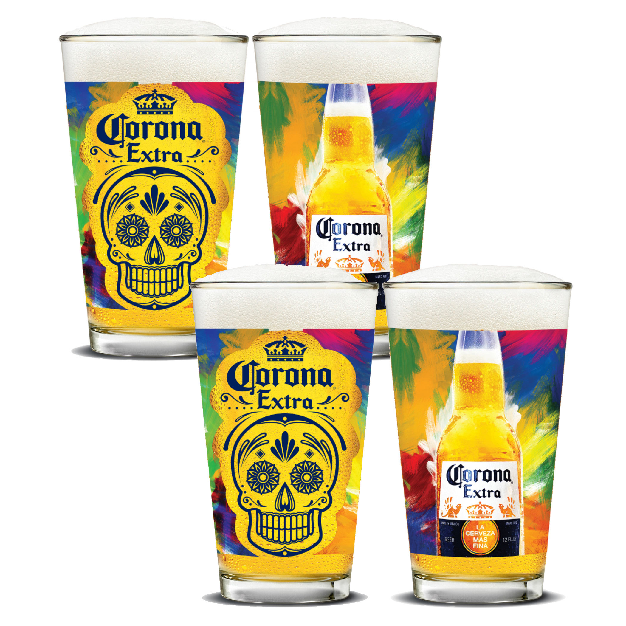 Corona Extra Día de Muertos Pint Glass Set of 4