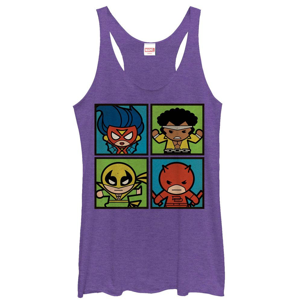 Marvel Teams Kawaii Heros For Hire Purple Juniors Racerback Tank Top