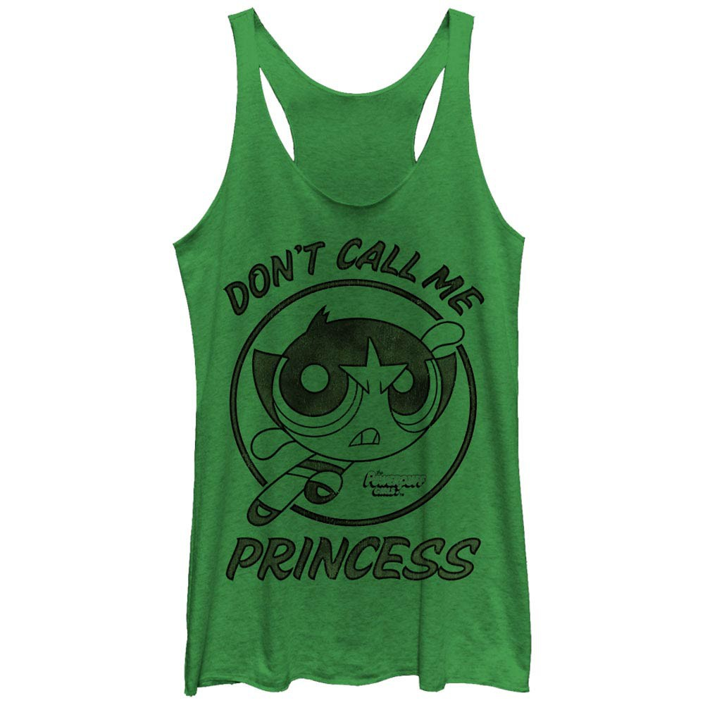 Power Puff Girls Buttercup Don't Call Me Princess Green Juniors Racerback Tank Top