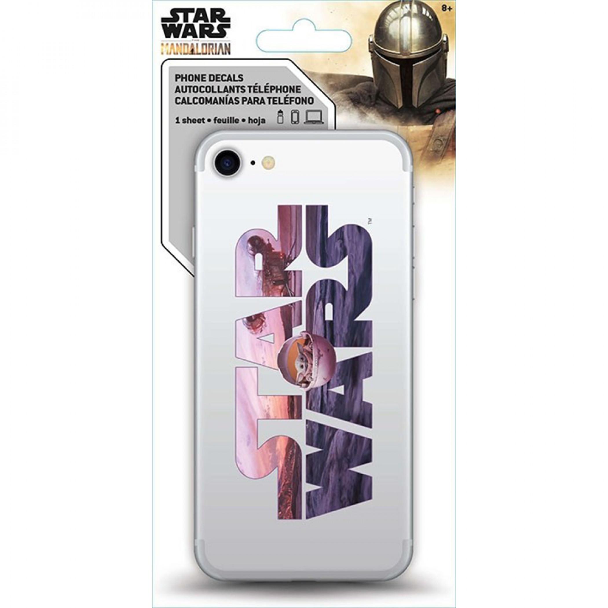 Star Wars The Mandalorian Grogu Star Wars Logo Phone Decal