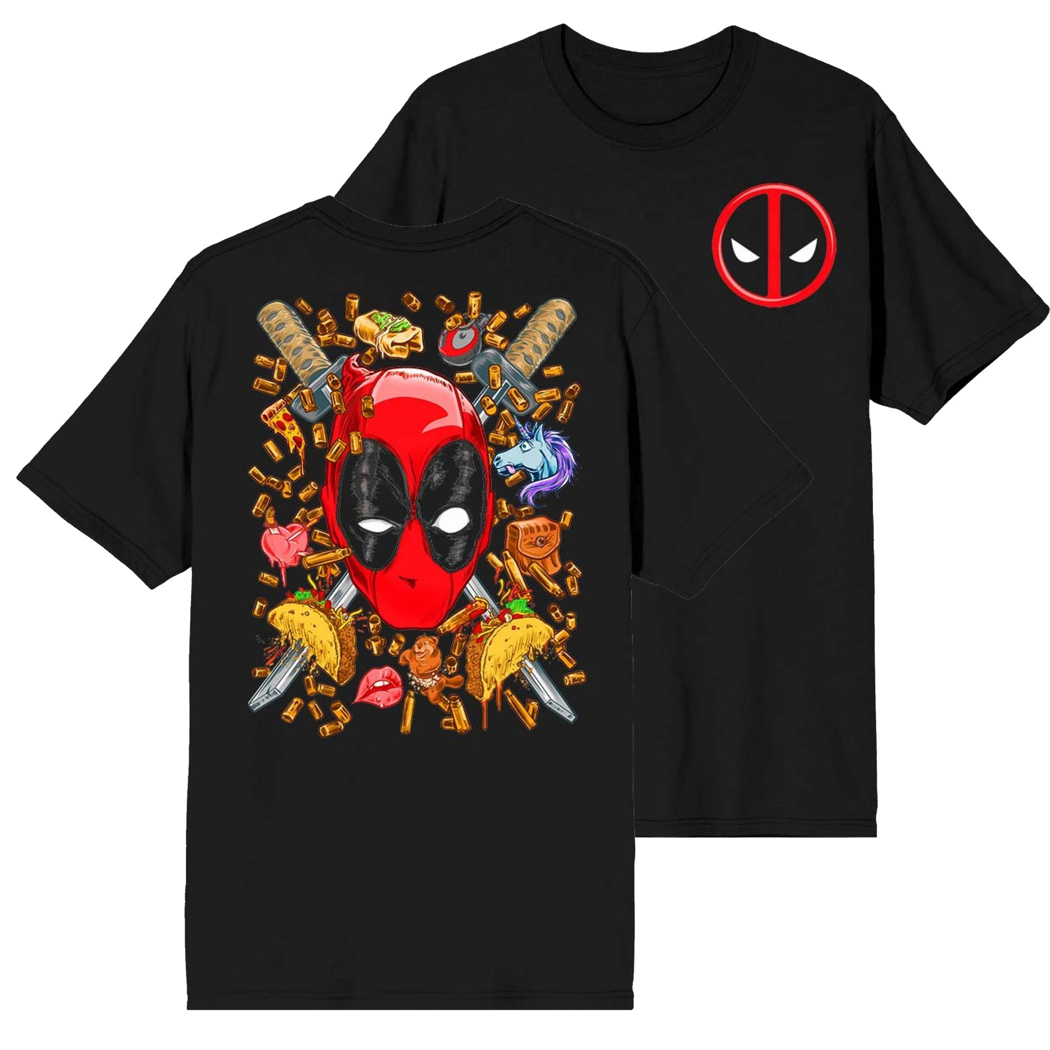 Deadpool Swords on the Brain Front and Back Print T-Shirt