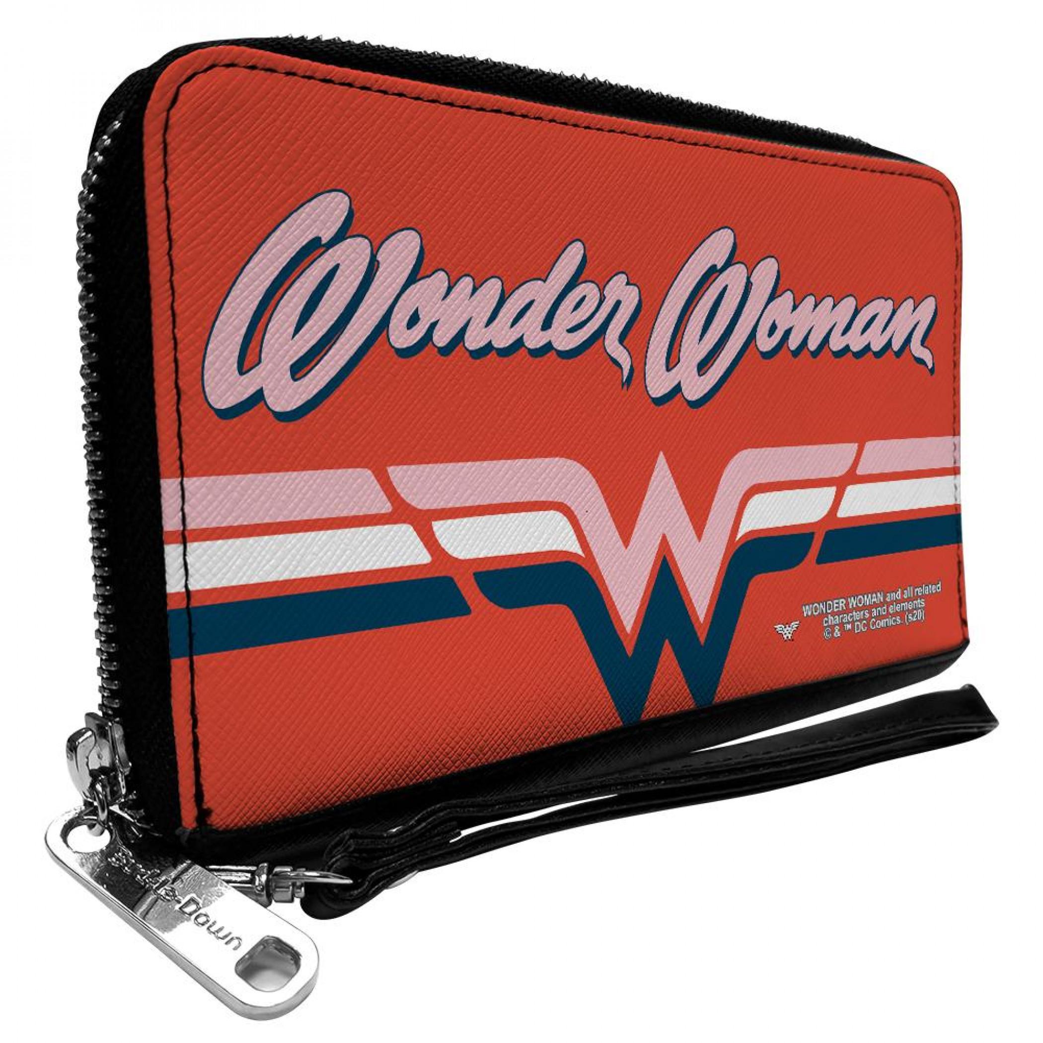 Wonder Woman Script Logo Zip Around Wallet