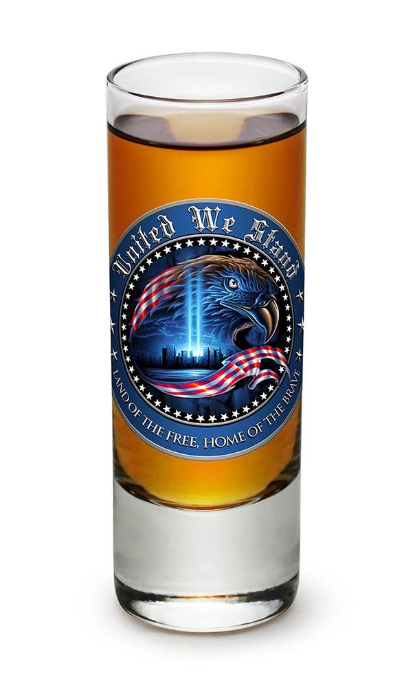 United We Stand Patriotic Bald Eagle Shot Glass