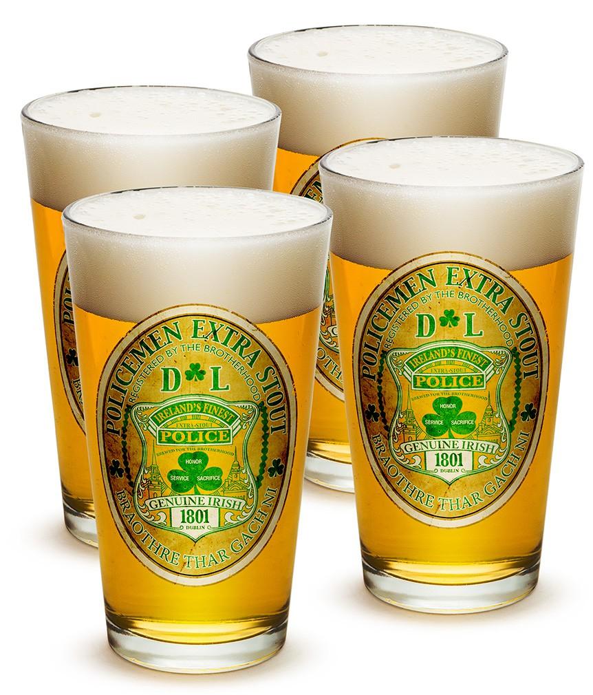 Set Of Four Irish Policemen Stout Beer Pints