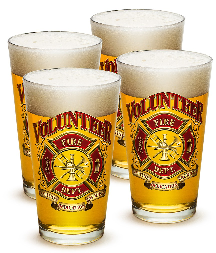 Set Of Four Volunteer Firefighter Beer Pints