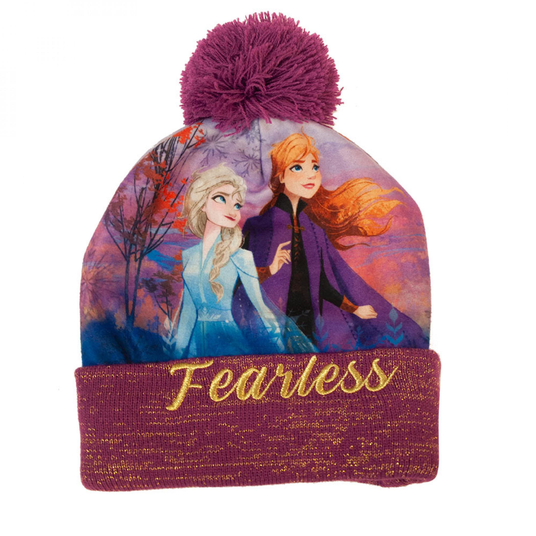 Frozen Fearless Purple Winter Youth Pom Beanie