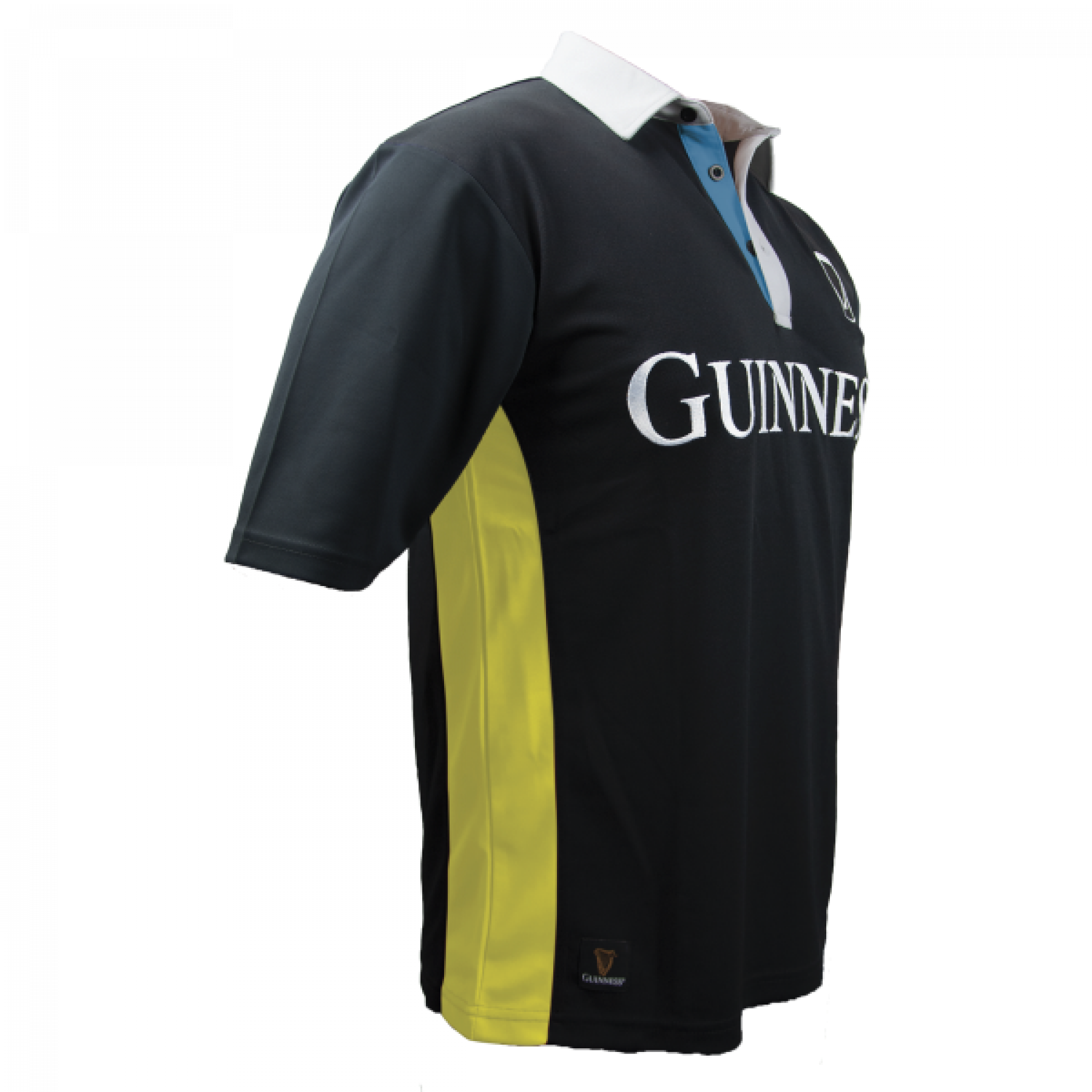 Guinness Black and Yellow Stripe Short Sleeve Rugby Jersey