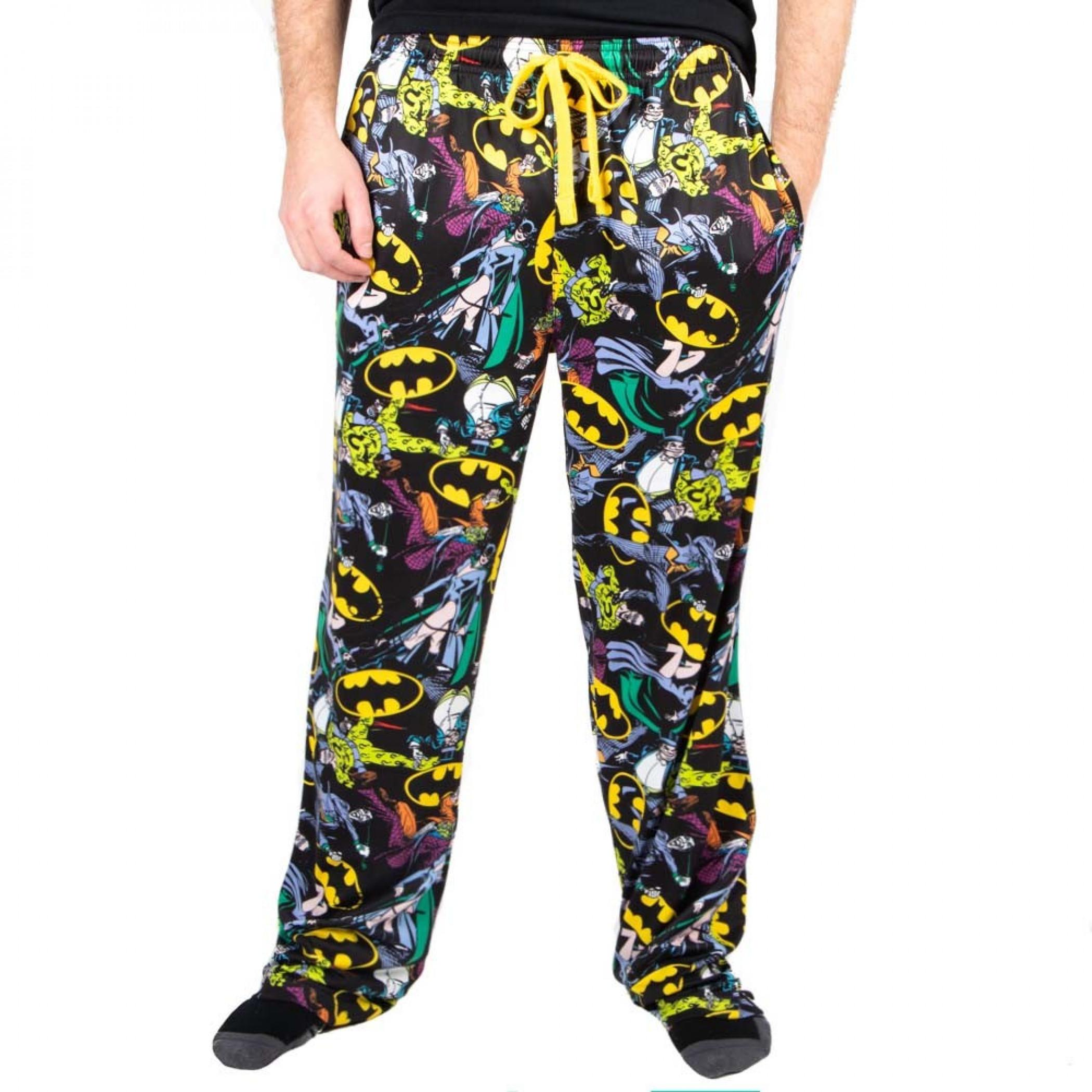 DC Comics Batman Logos and Characters All Over Print Sleep Pants