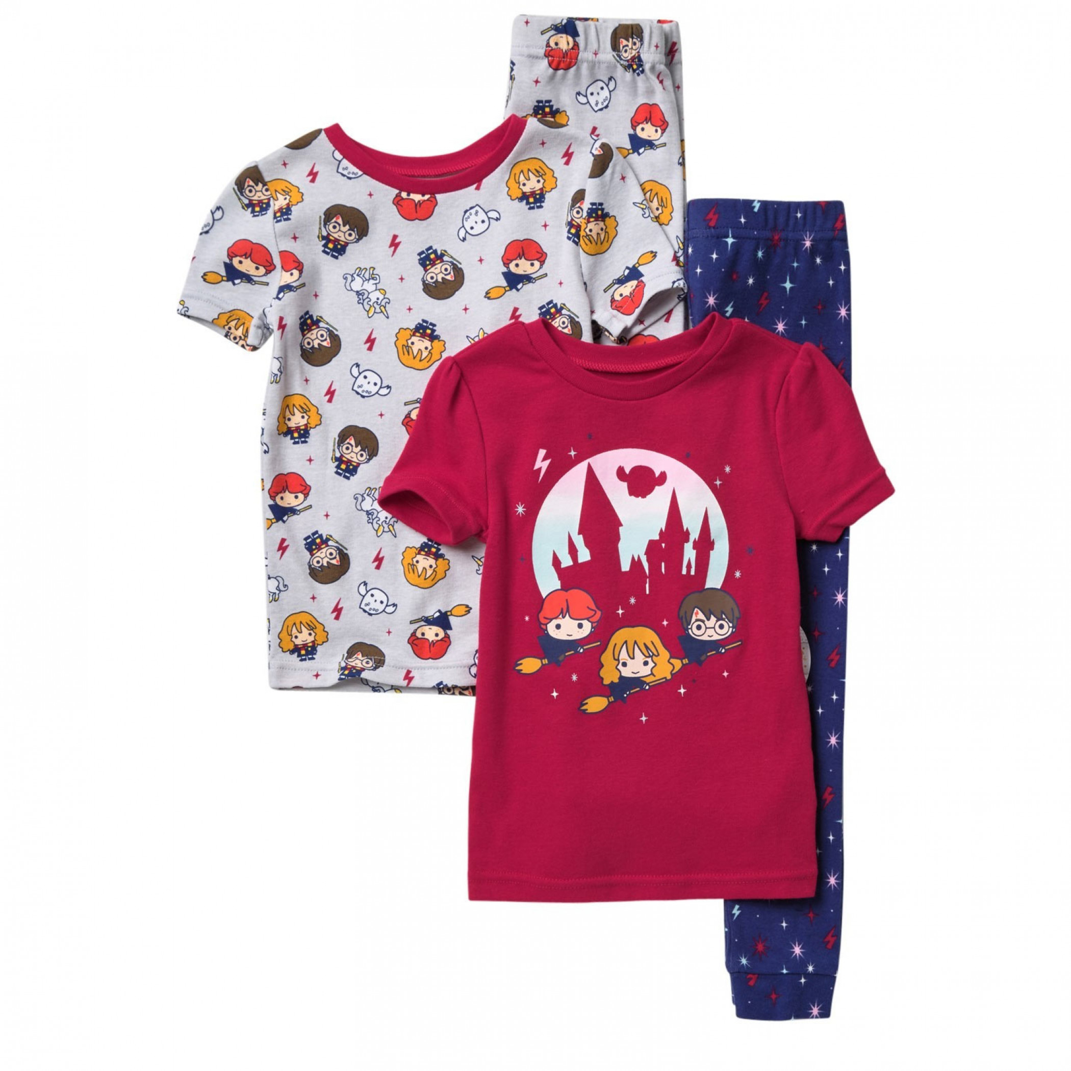 Harry Potter Wizards and All Over Print 4-Piece Pajama Set