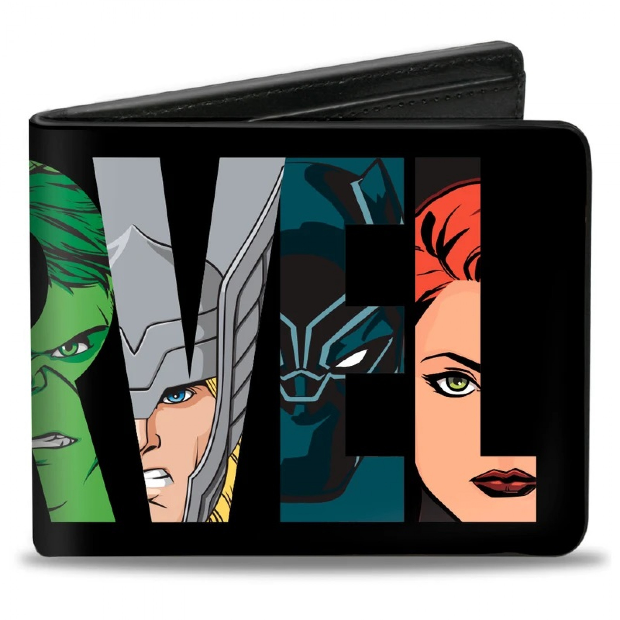 Marvel Avengers Characters Faces in Text Men's Bi-Fold Wallet