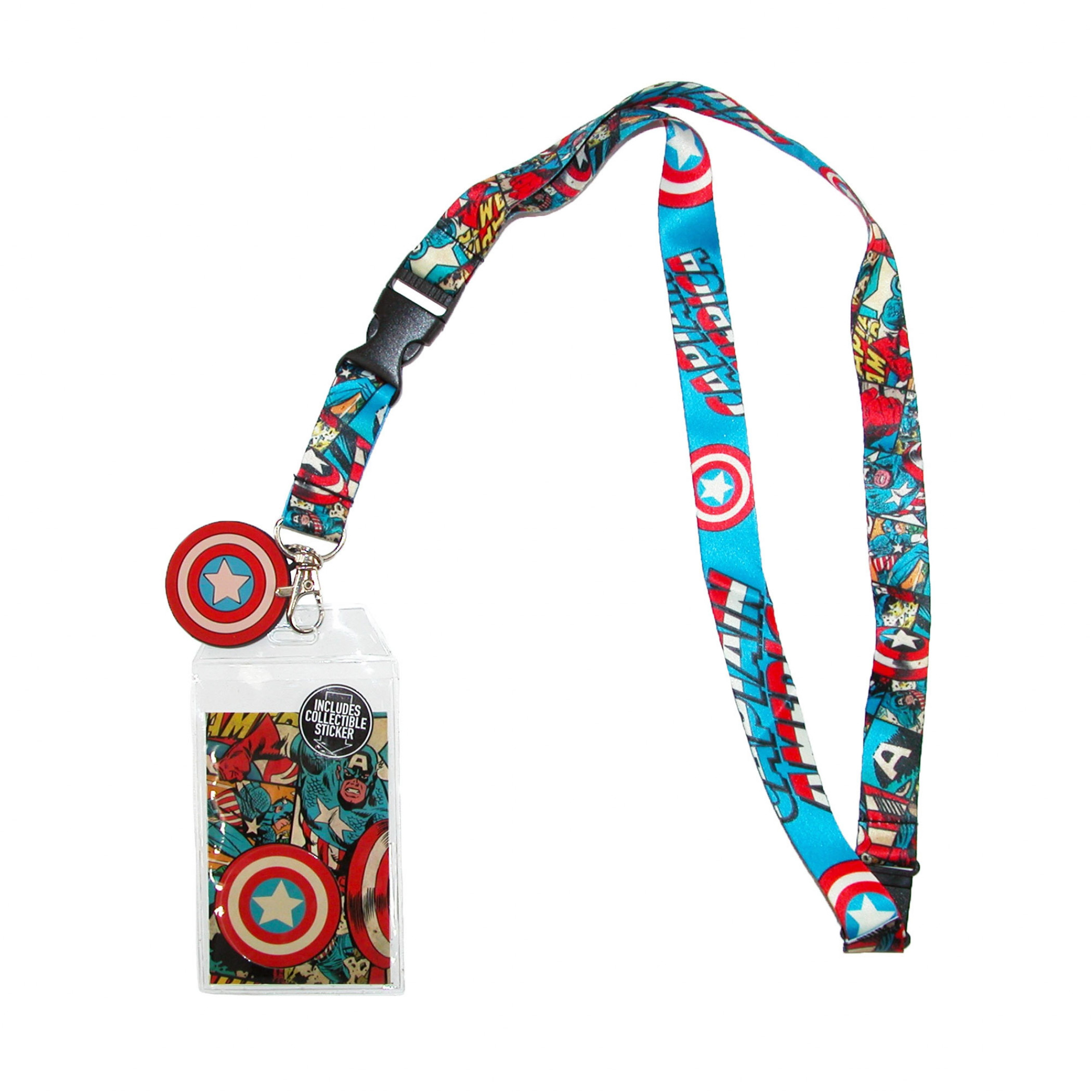 Captain America Comic Lanyard and Charm