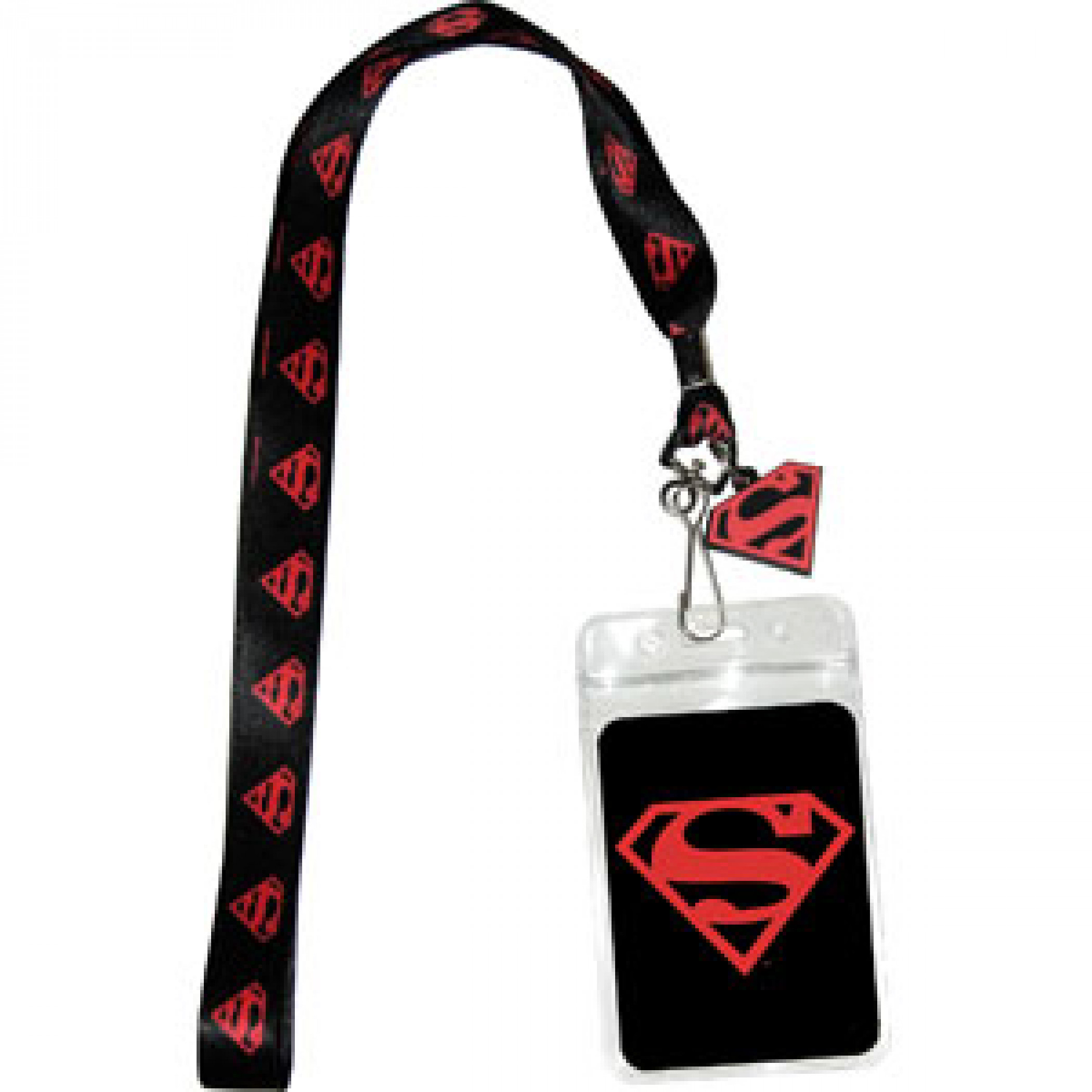 Superman Black and Red Lanyard
