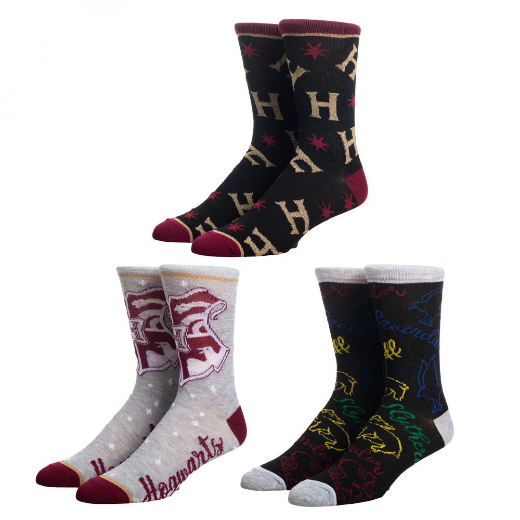 Harry Potter 3-Pair Pack Crew Socks Train Novelty Box Set