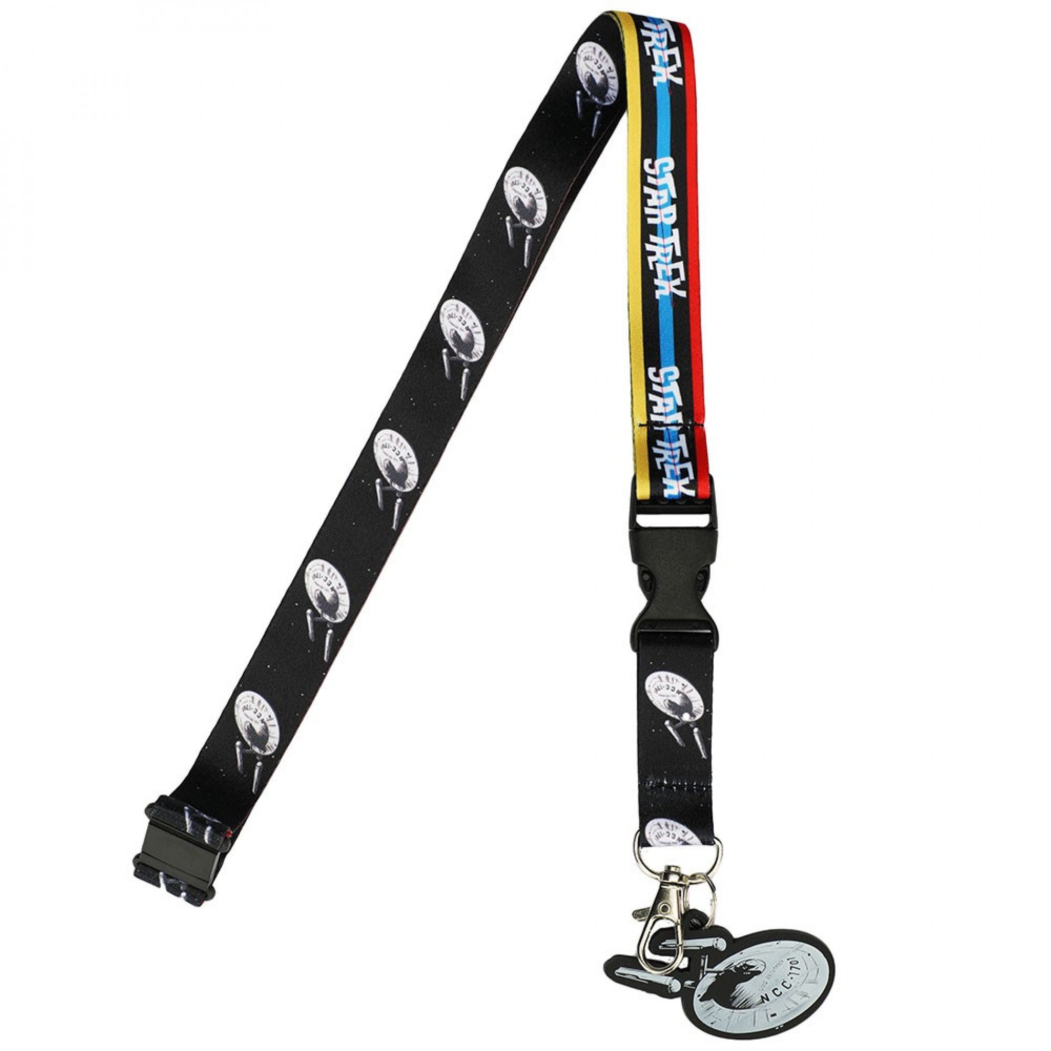 Star Trek Enterprise Repeating Lanyard With Charm and Card Holder