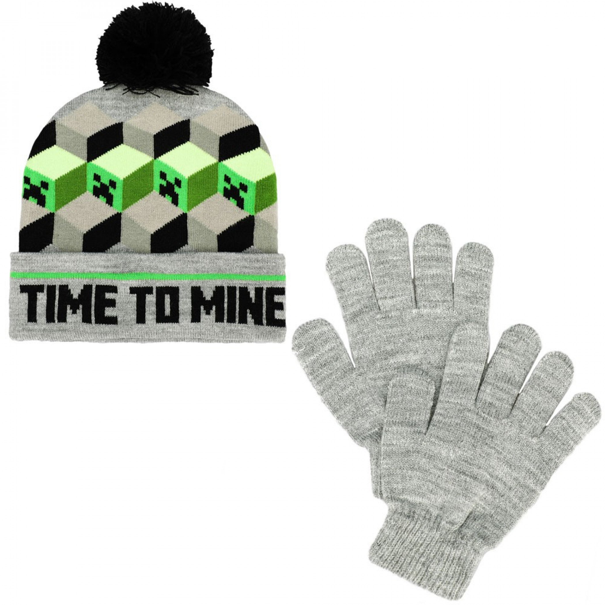 Minecraft Time To Mine Youth Pom Beanie & Gloves 2-Piece Winter Combo
