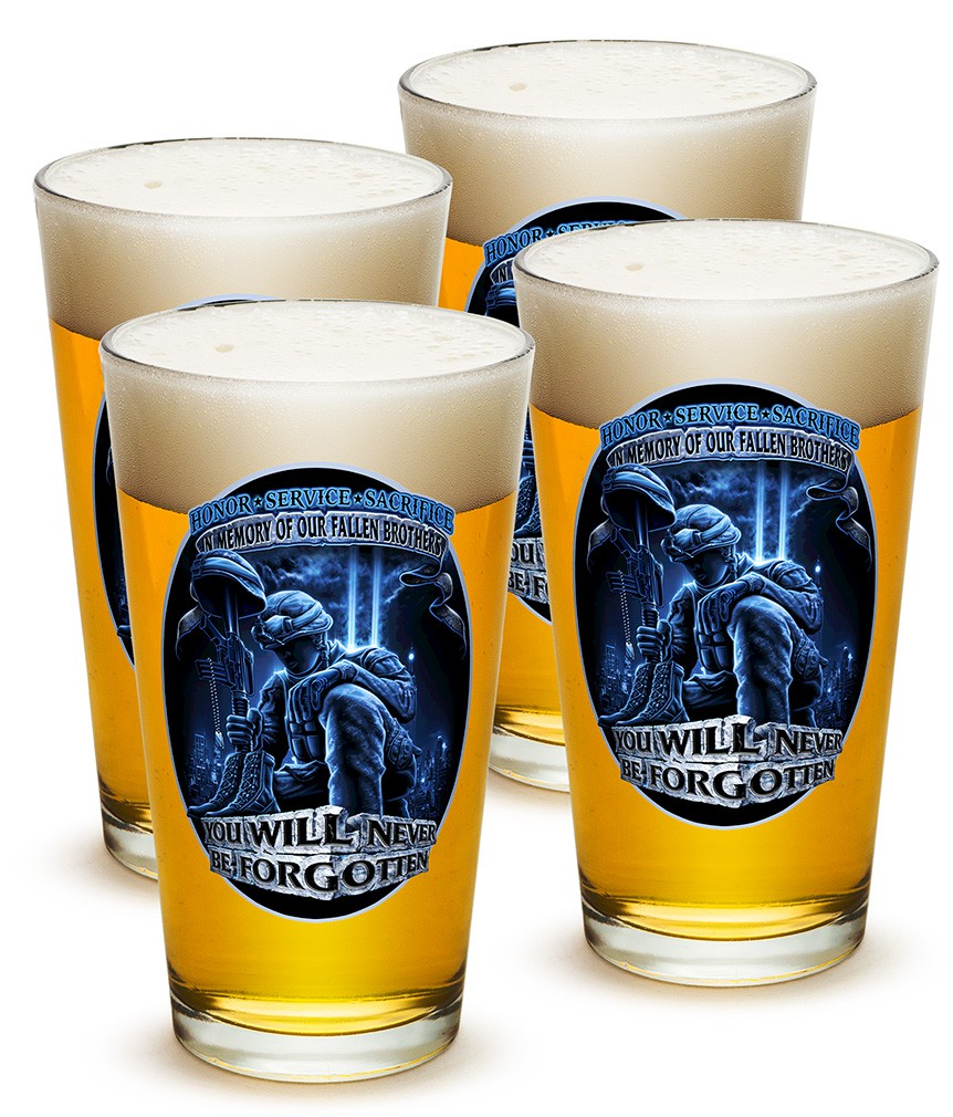 Four Pack Fallen Brothers Soldier Beer Pints