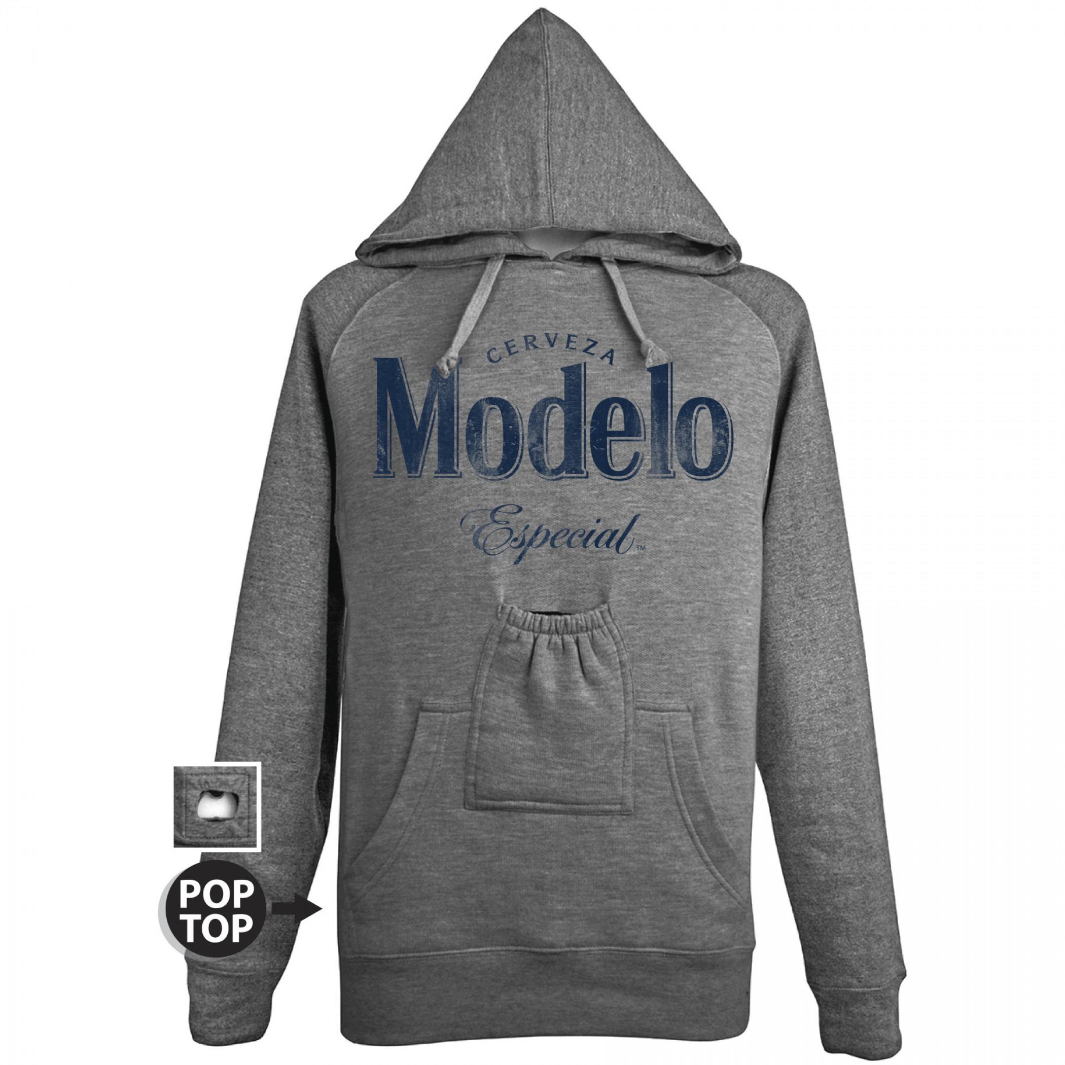 Modelo Especial Bottle Opener Pop Top Grey Hoodie