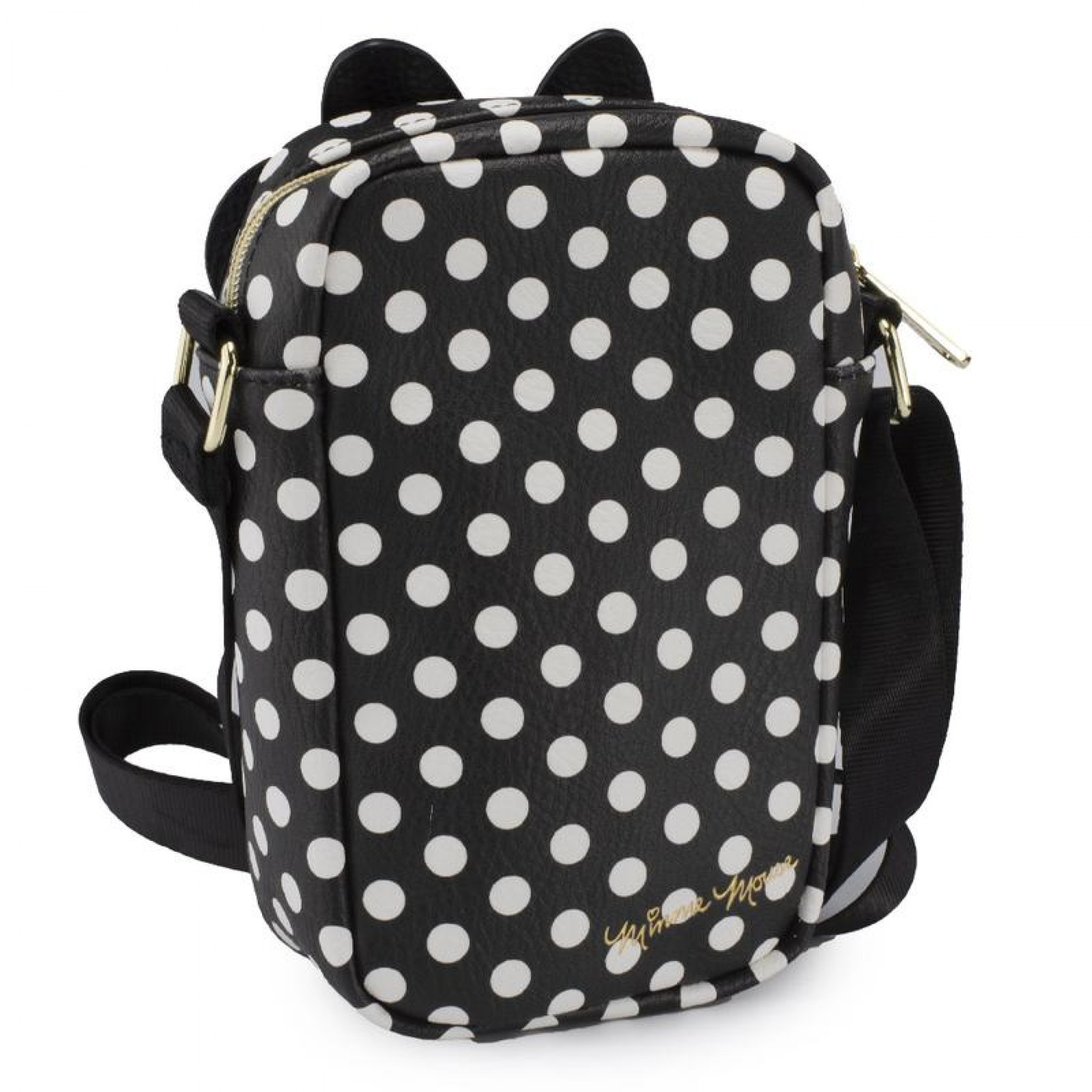 Disney Minnie Mouse Ears and Bow Patch Crossbody Vegan Leather Bag