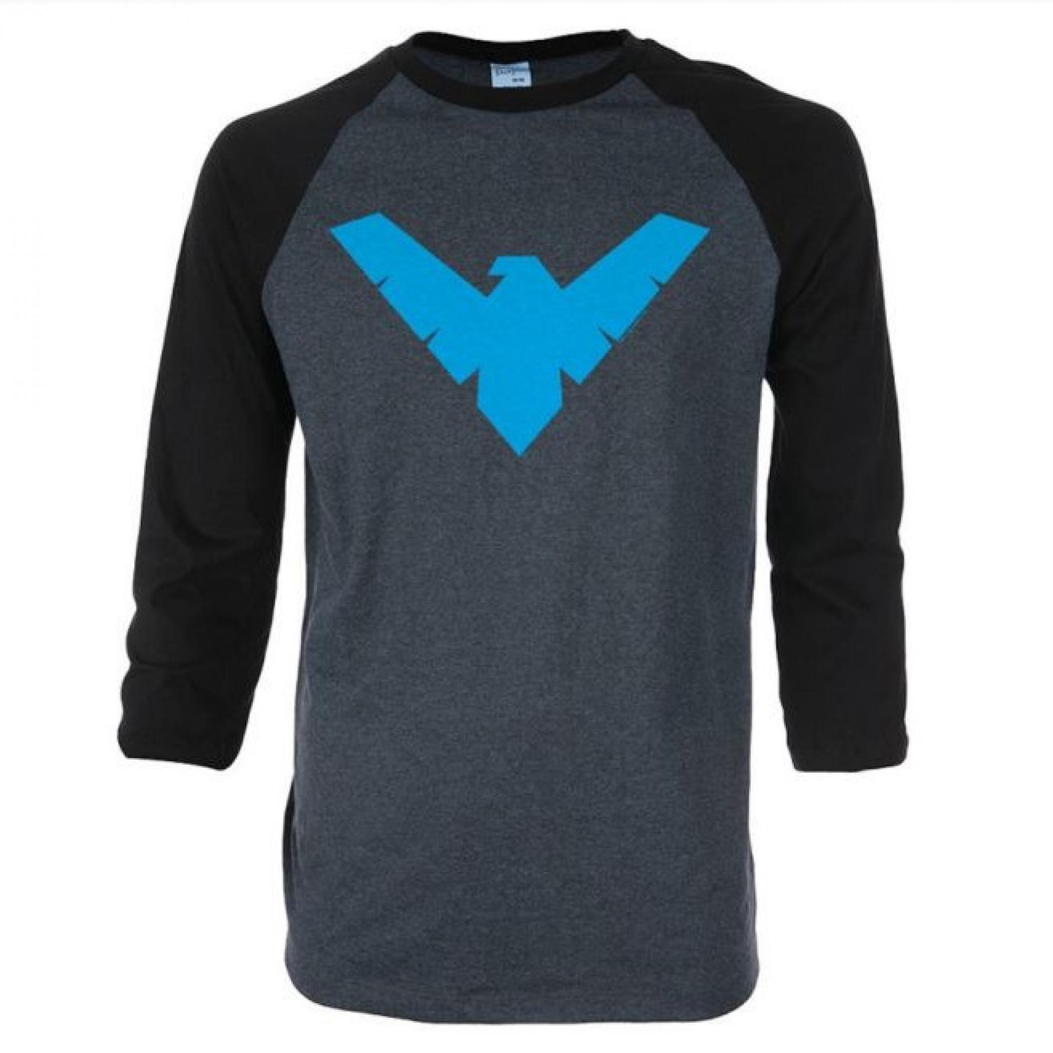 Nightwing Symbol 3/4 Sleeve Raglan Baseball T-Shirt