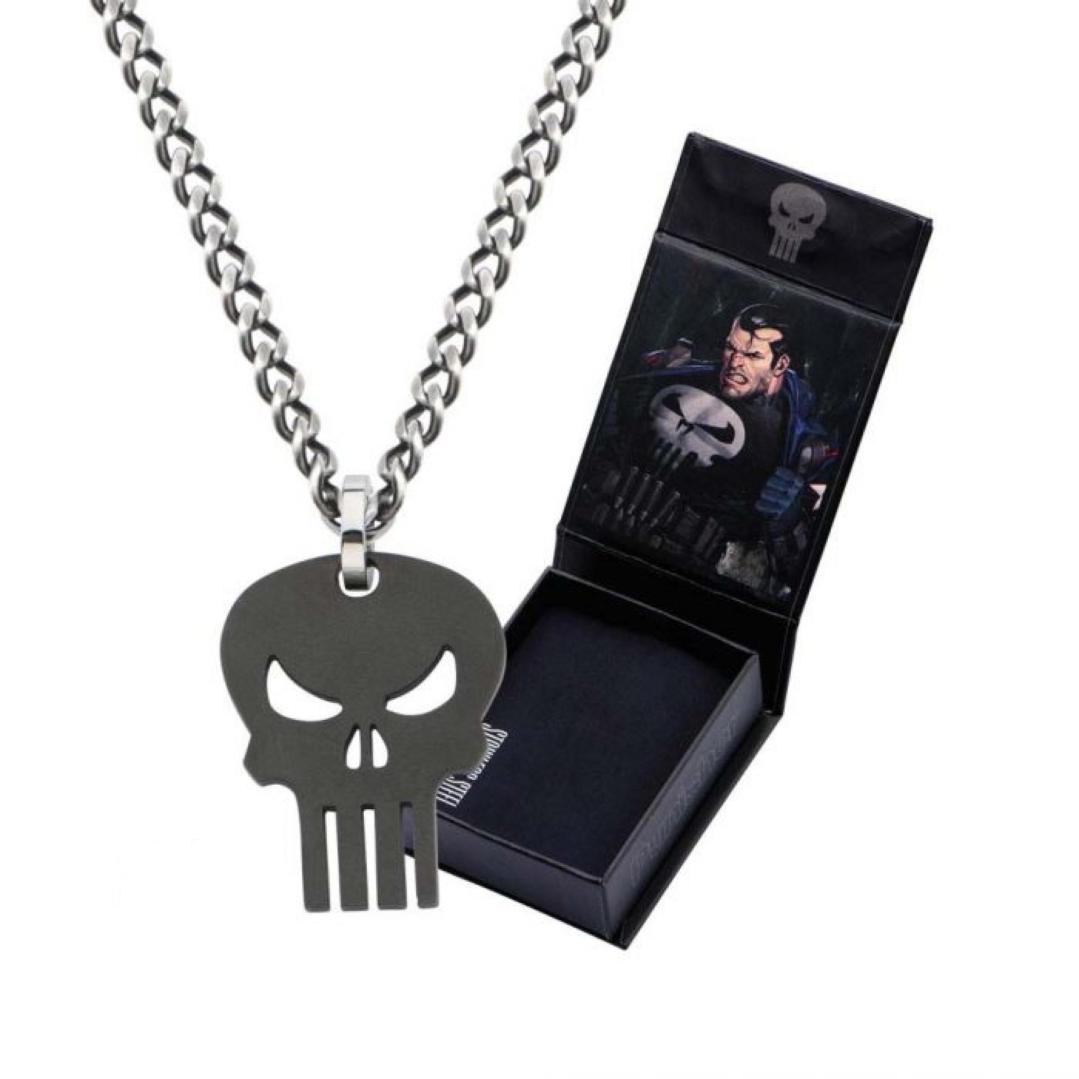 Marvel Punisher Stainless Steel Skull Pendant Necklace