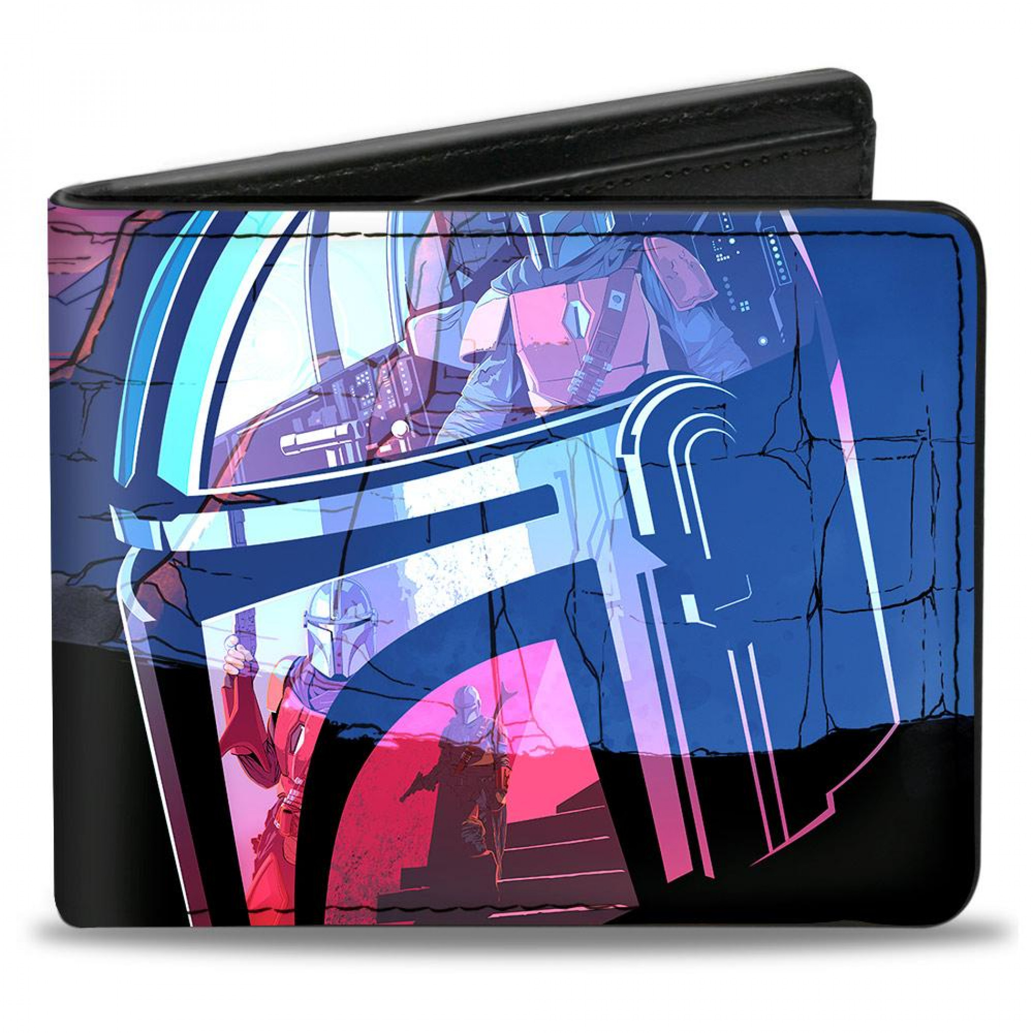 The Mandalorian Neon Helmet Vegan Leather Wallet