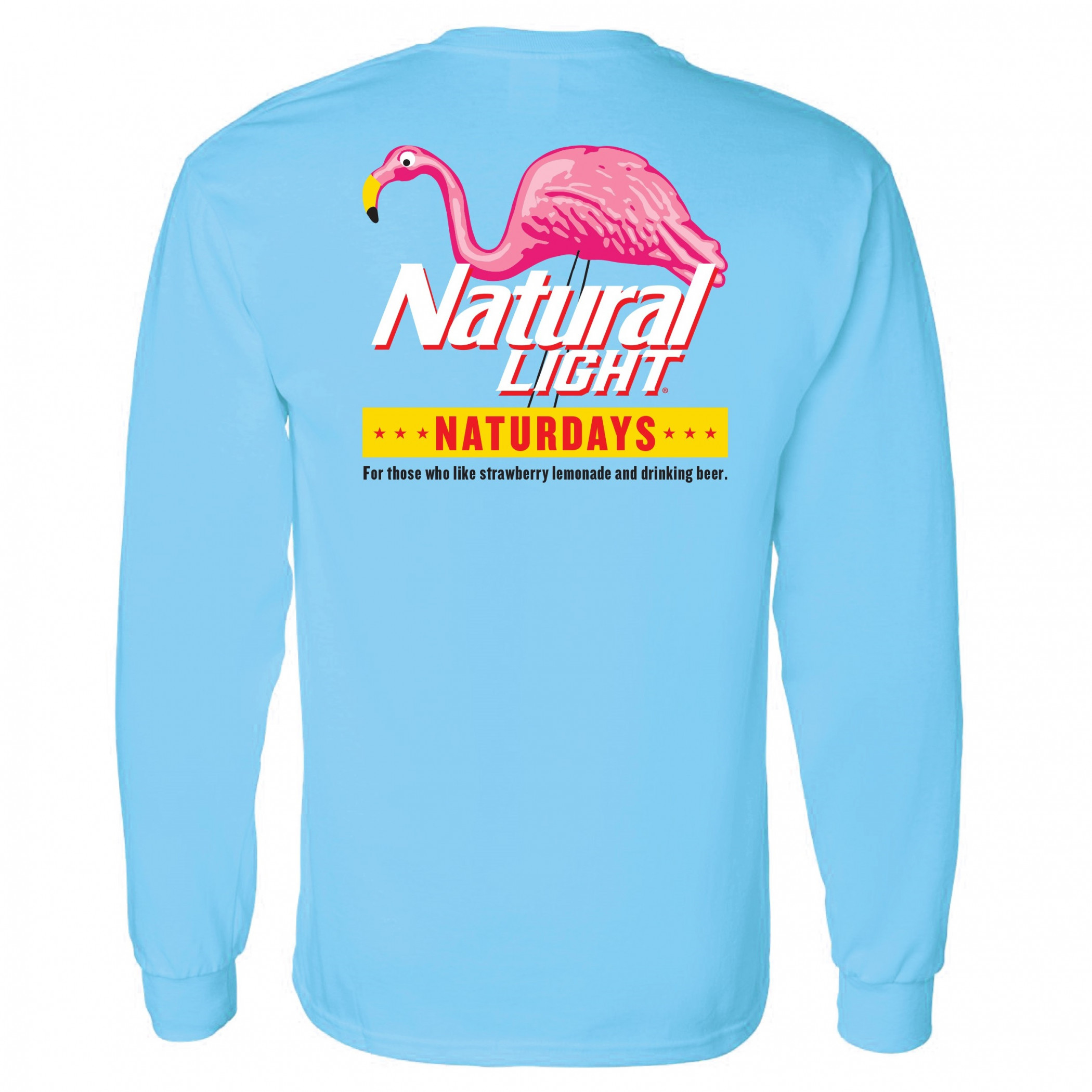 Natural Light Naturdays Flamingo Bright Blue Long Sleeve Shirt