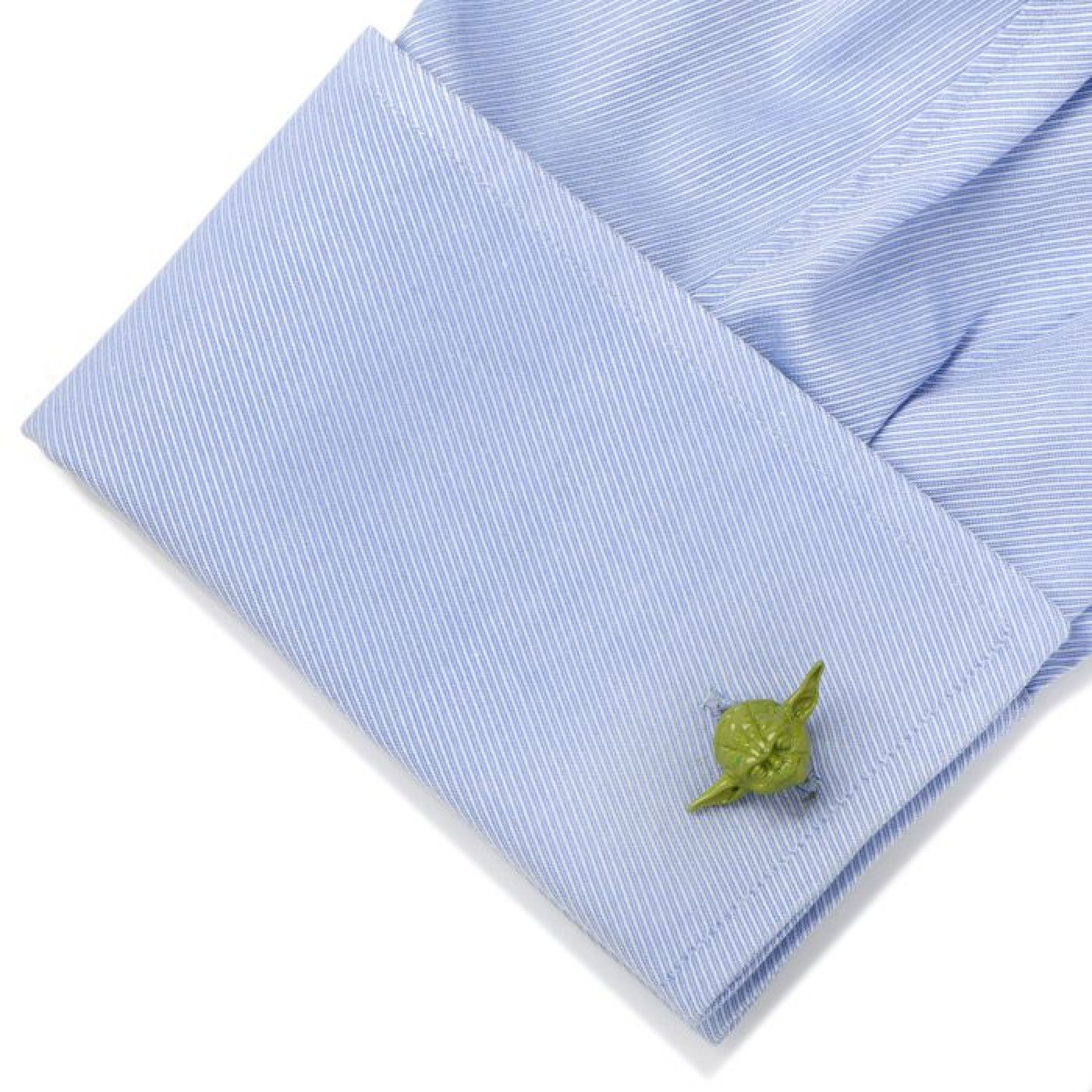 Star Wars 3D Green Yoda Head Cufflinks