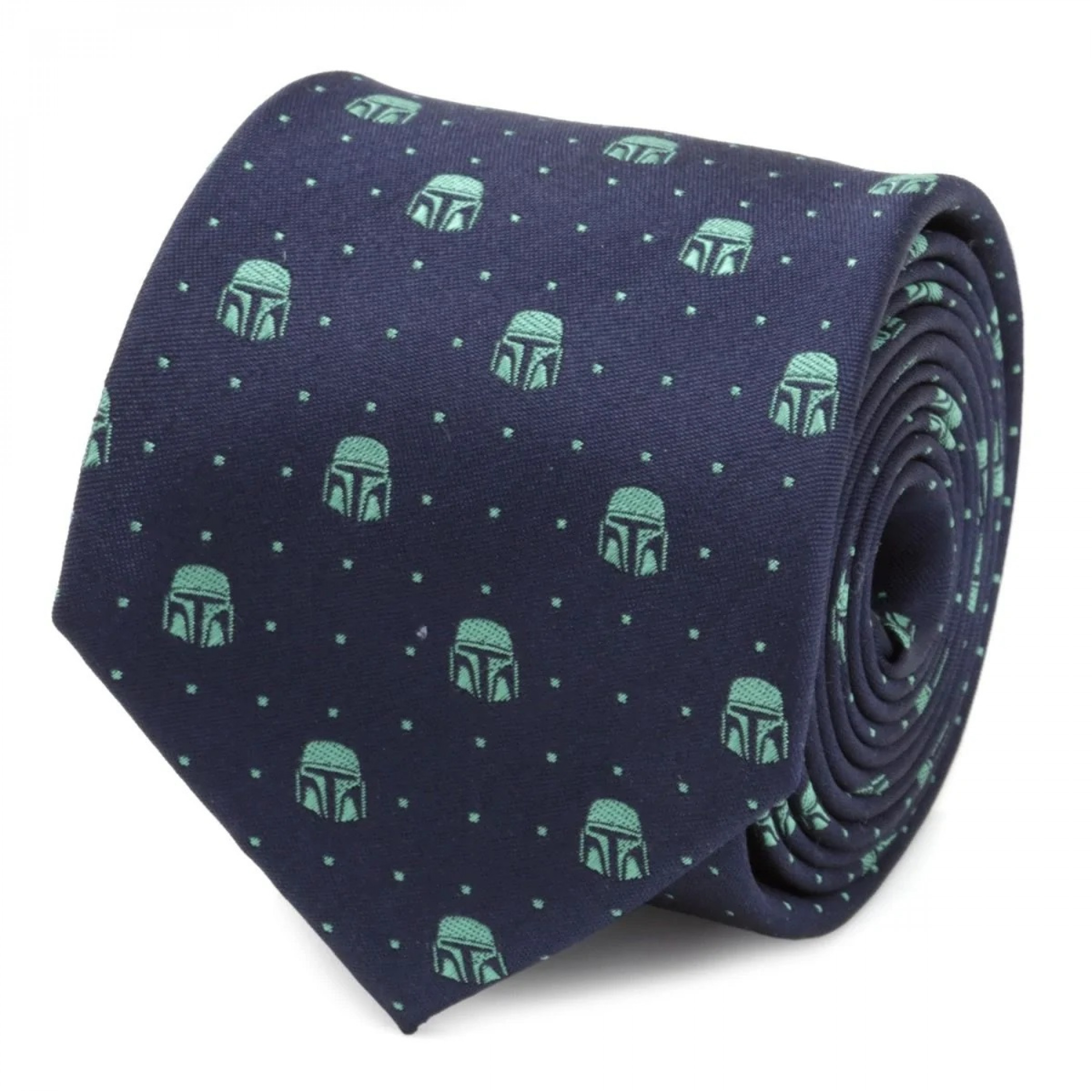 Star Wars The Mandalorian Helmet All Over Dotted Silk Tie