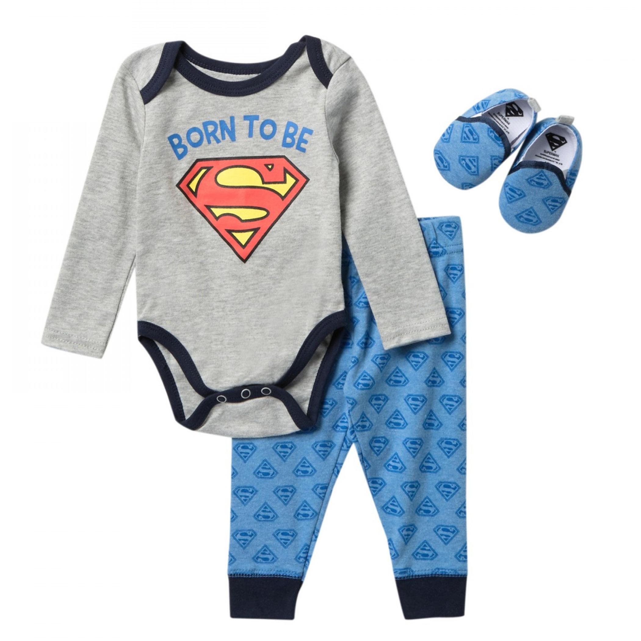 Superman Born To Be Infant 3-Piece Sleep Set