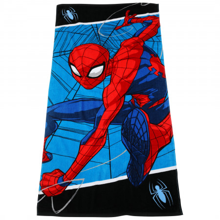 Spider-Man On The Web Beach Towel