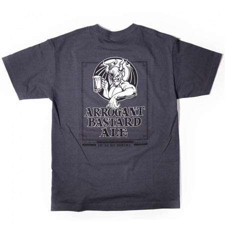 Arrogant Bastard Ale You're Not Worthy Grey Graphic Tee Shirt