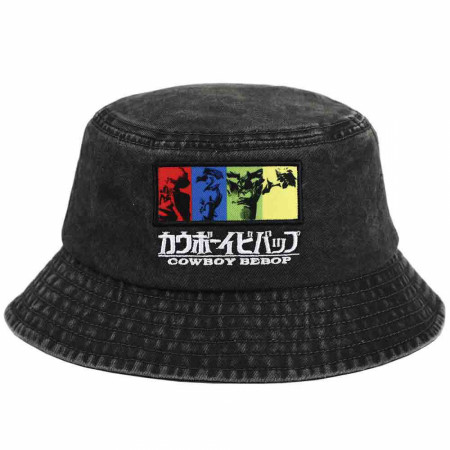 Cowboy Bebop Characters Embroidered Pigment Dye Bucket Hat