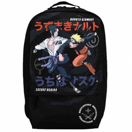 Naruto Shippuden Uzumaki Naruto & Uchiha Sasuke Print Laptop Backpack