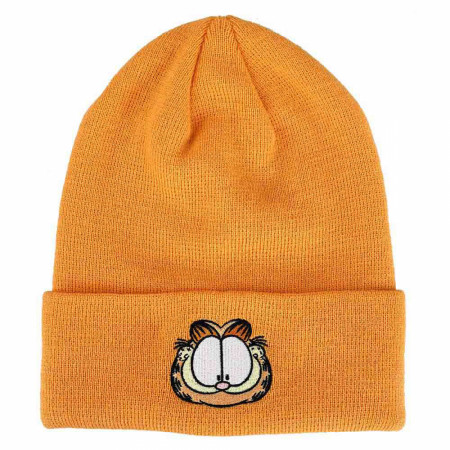 Garfield Embroidered Front Art Character Face Tall Beanie