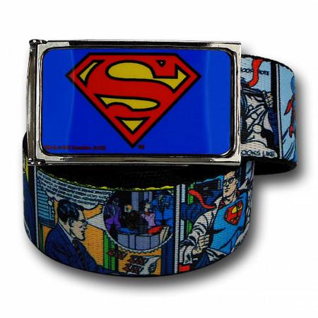 Superman Retro Comic Panels Classic Adult Web Belt
