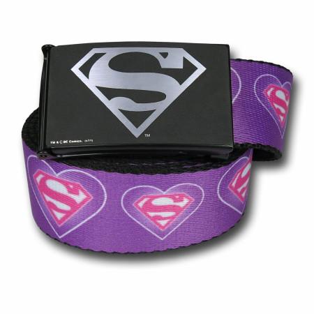 Supergirl Symbol & Hearts Adult Web Belt